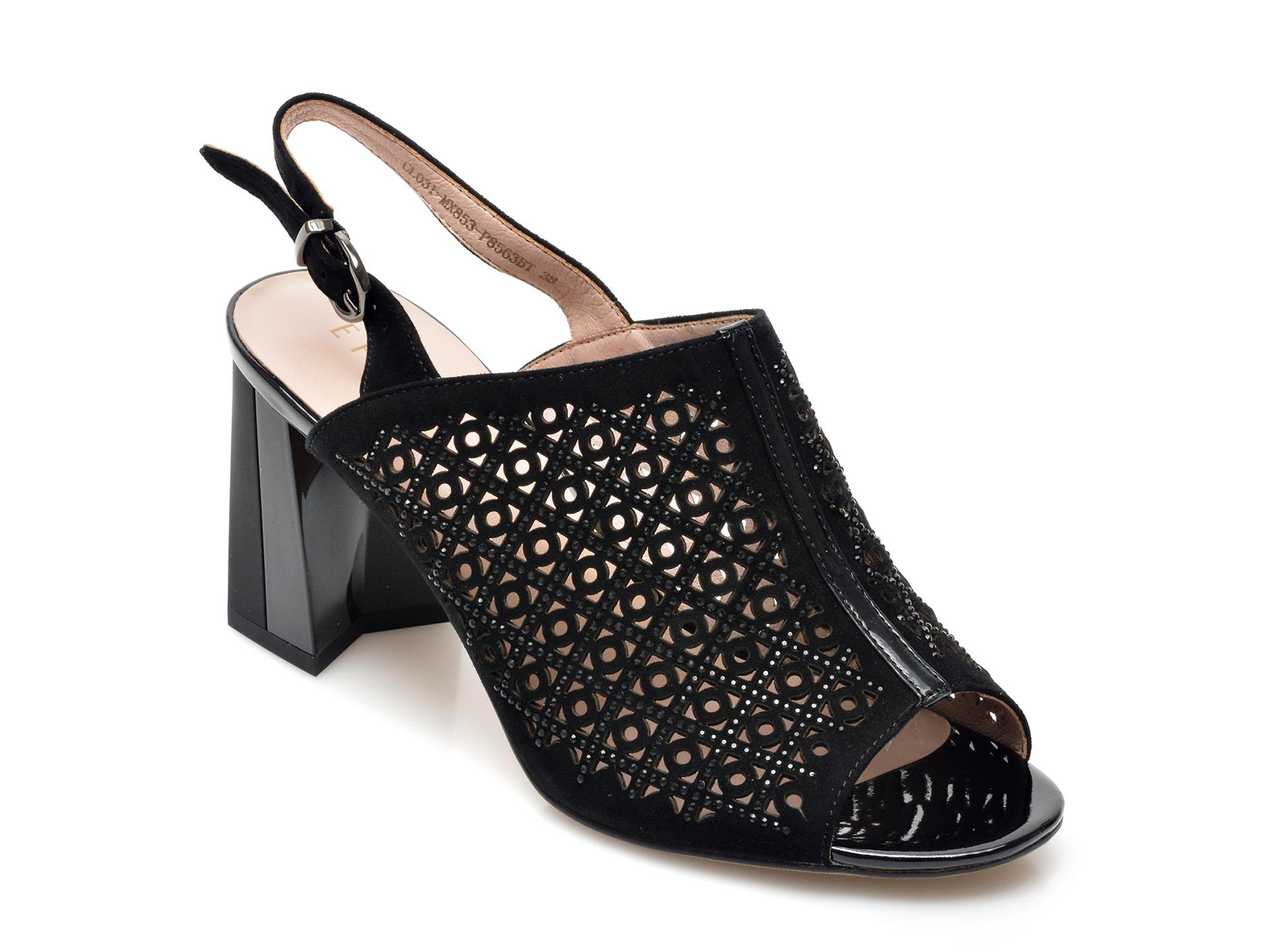 Sandale EPICA negre, MX853, din piele intoarsa