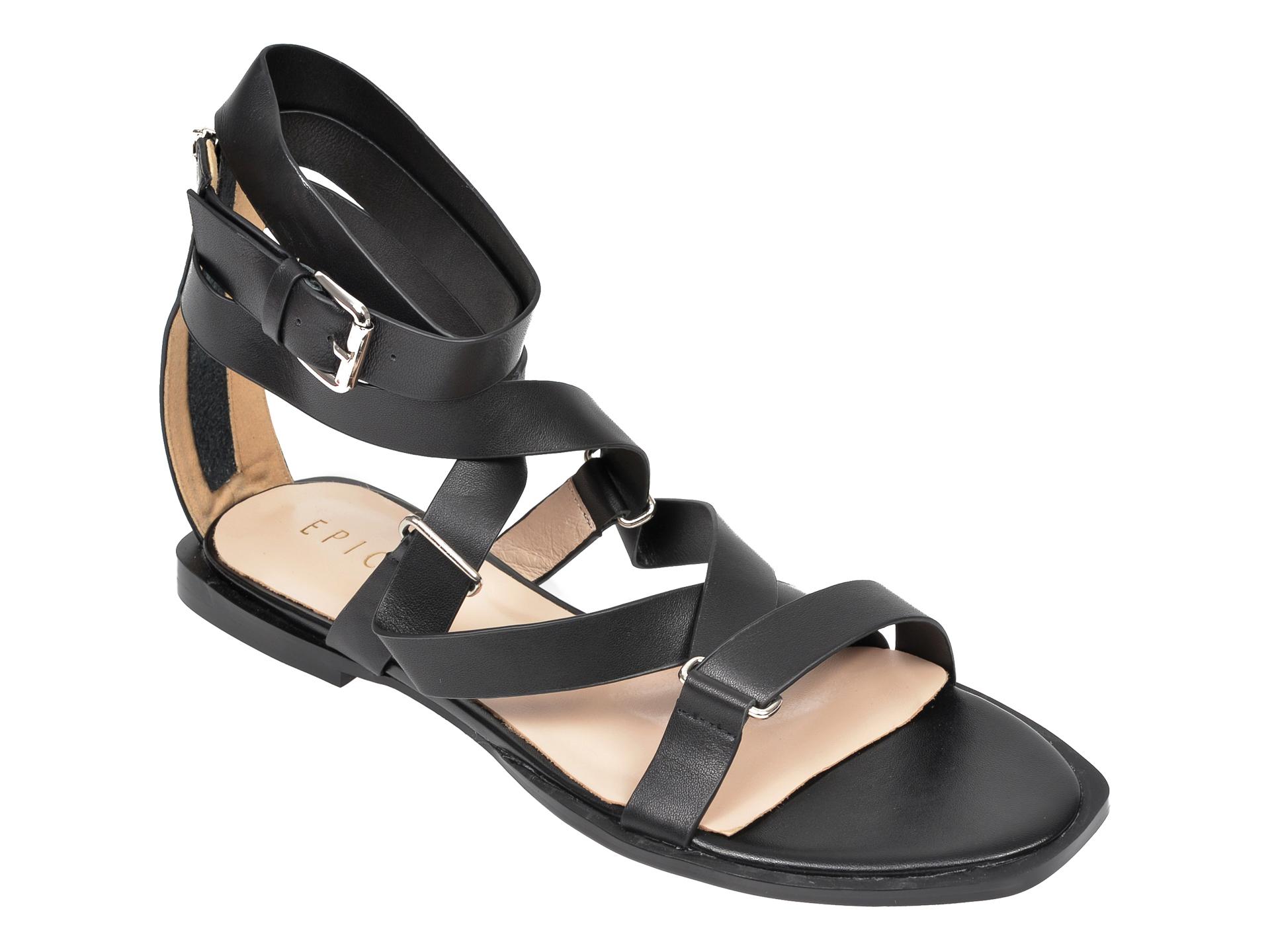 Sandale EPICA negre, NW9828N, din piele naturala
