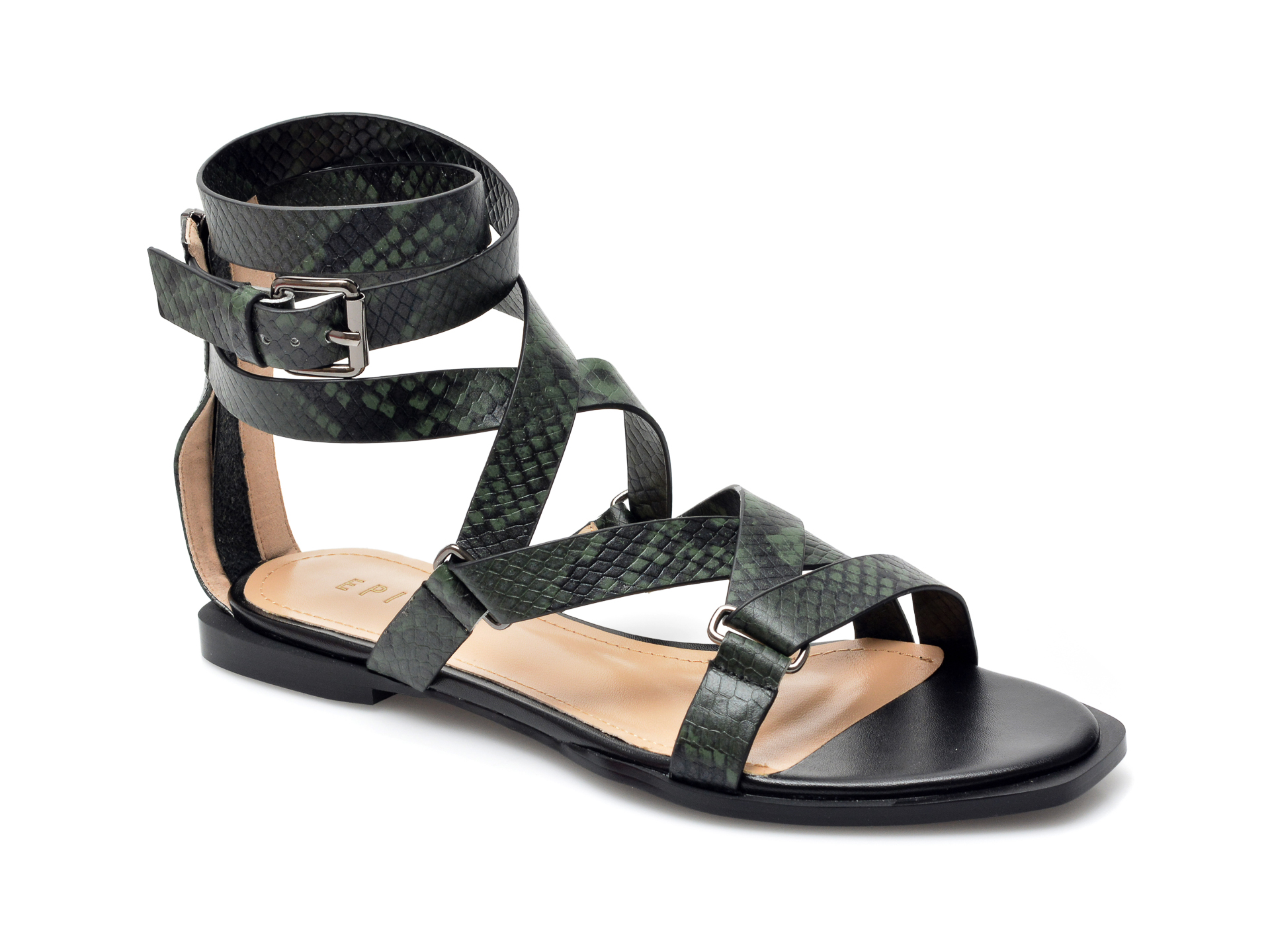 Sandale EPICA verzi, NW98, din piele naturala