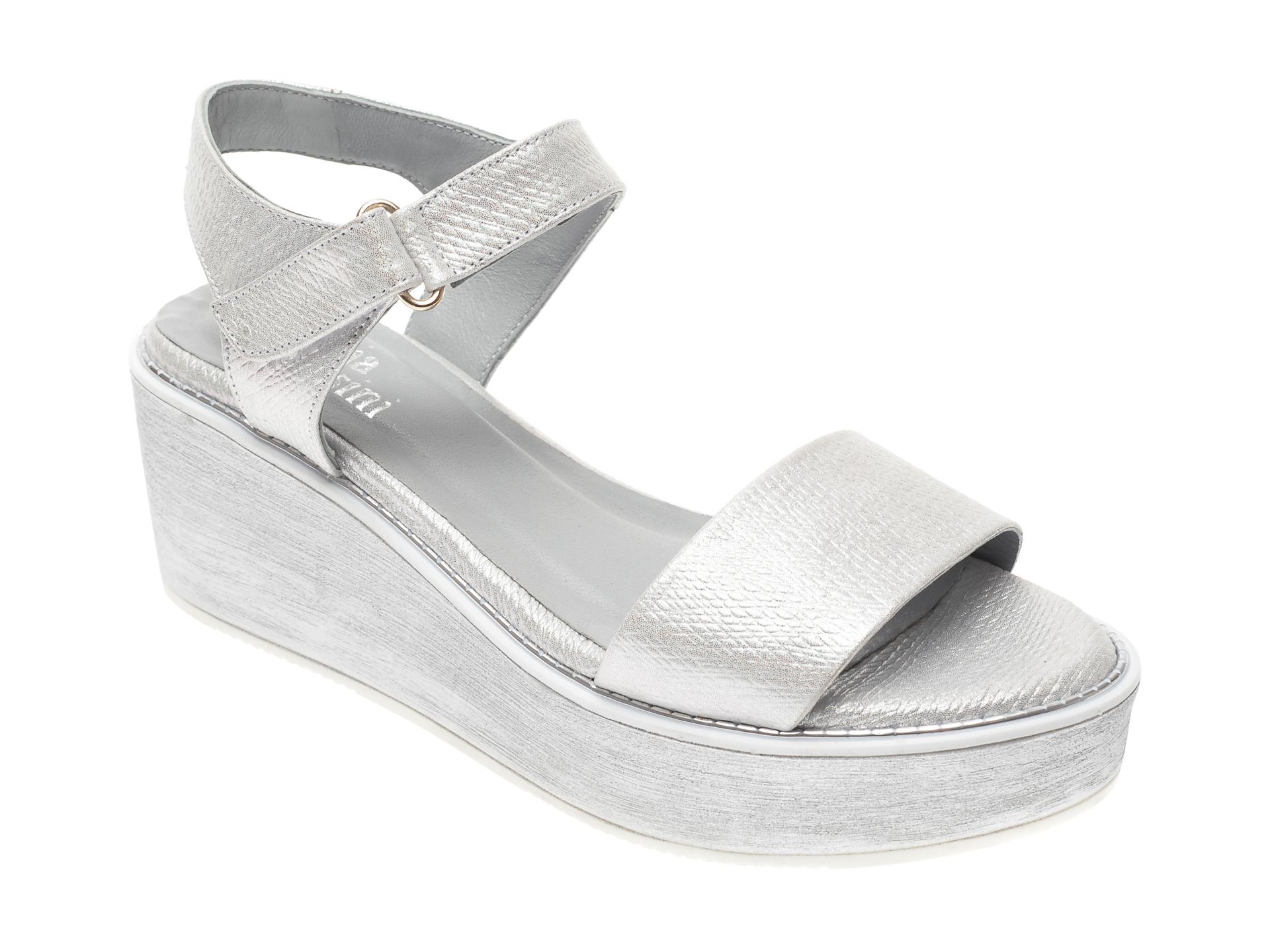 Sandale FLAVIA PASSINI argintii, 887, din piele naturala imagine
