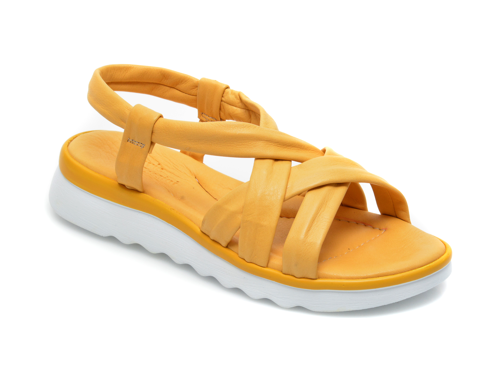 Sandale FLAVIA PASSINI galbene, EI24500, din piele naturala