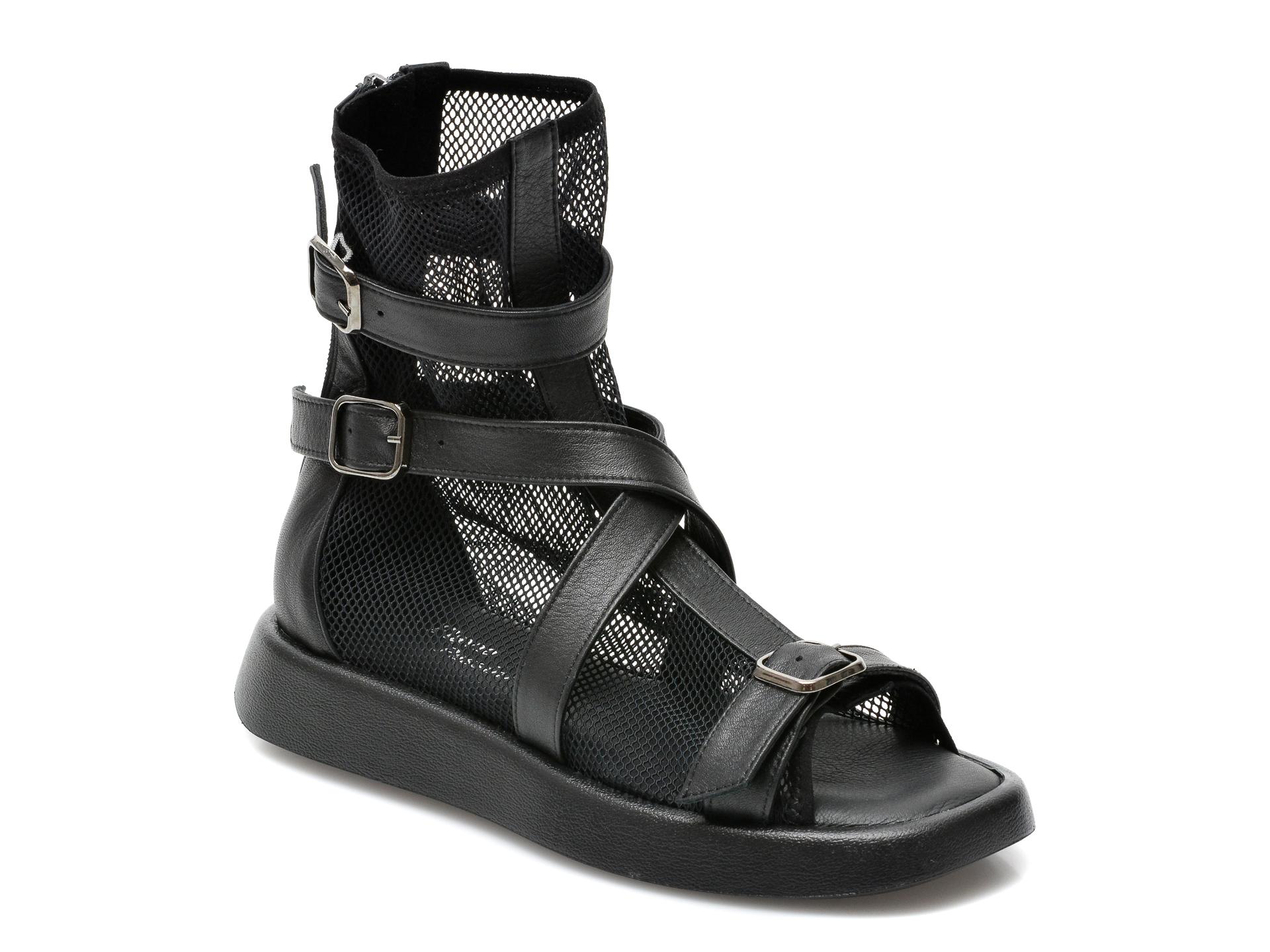Sandale FLAVIA PASSINI negre, 44421Y3, din material textil si piele naturala