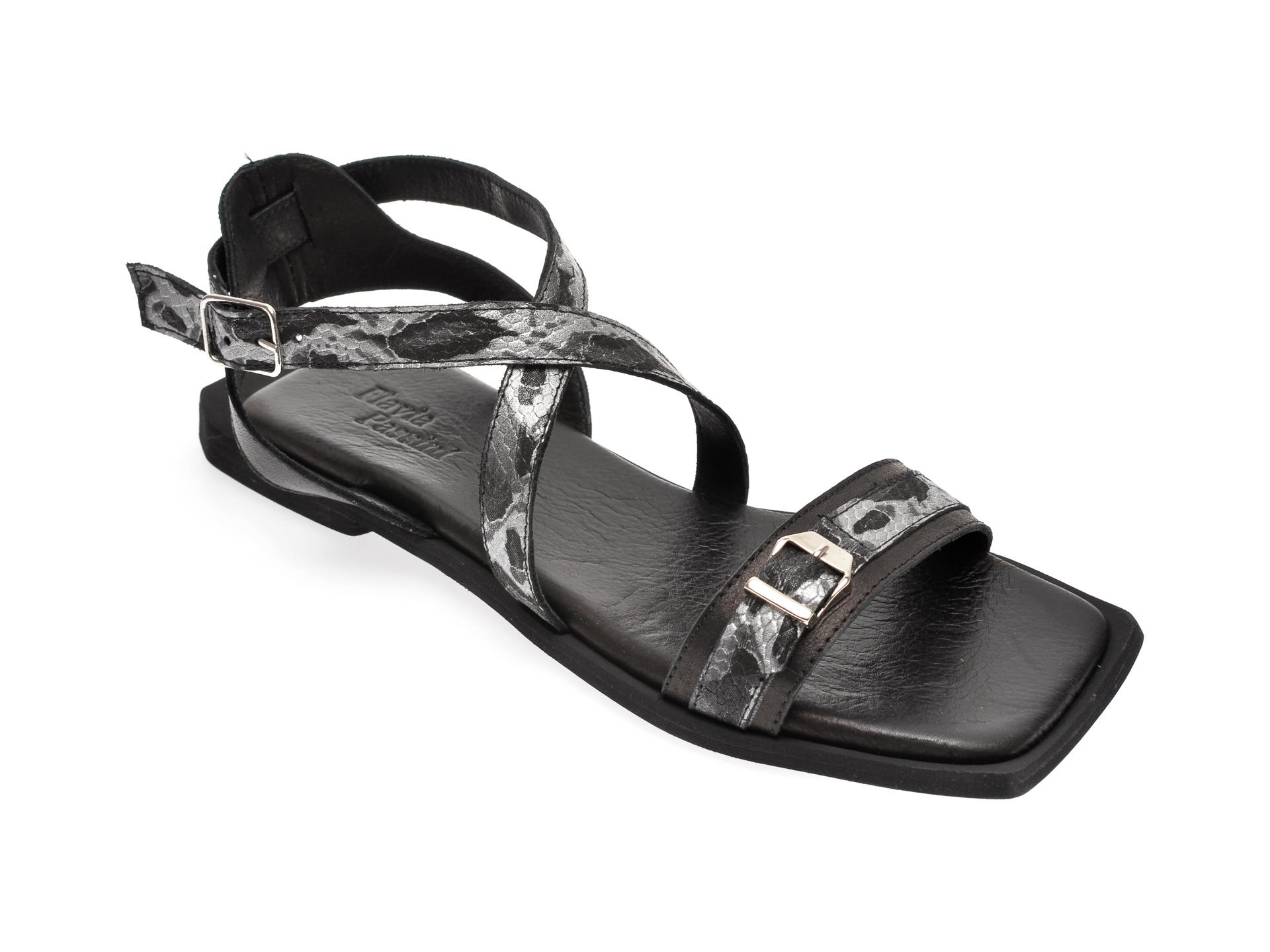 Sandale FLAVIA PASSINI negre, 444, din piele naturala imagine