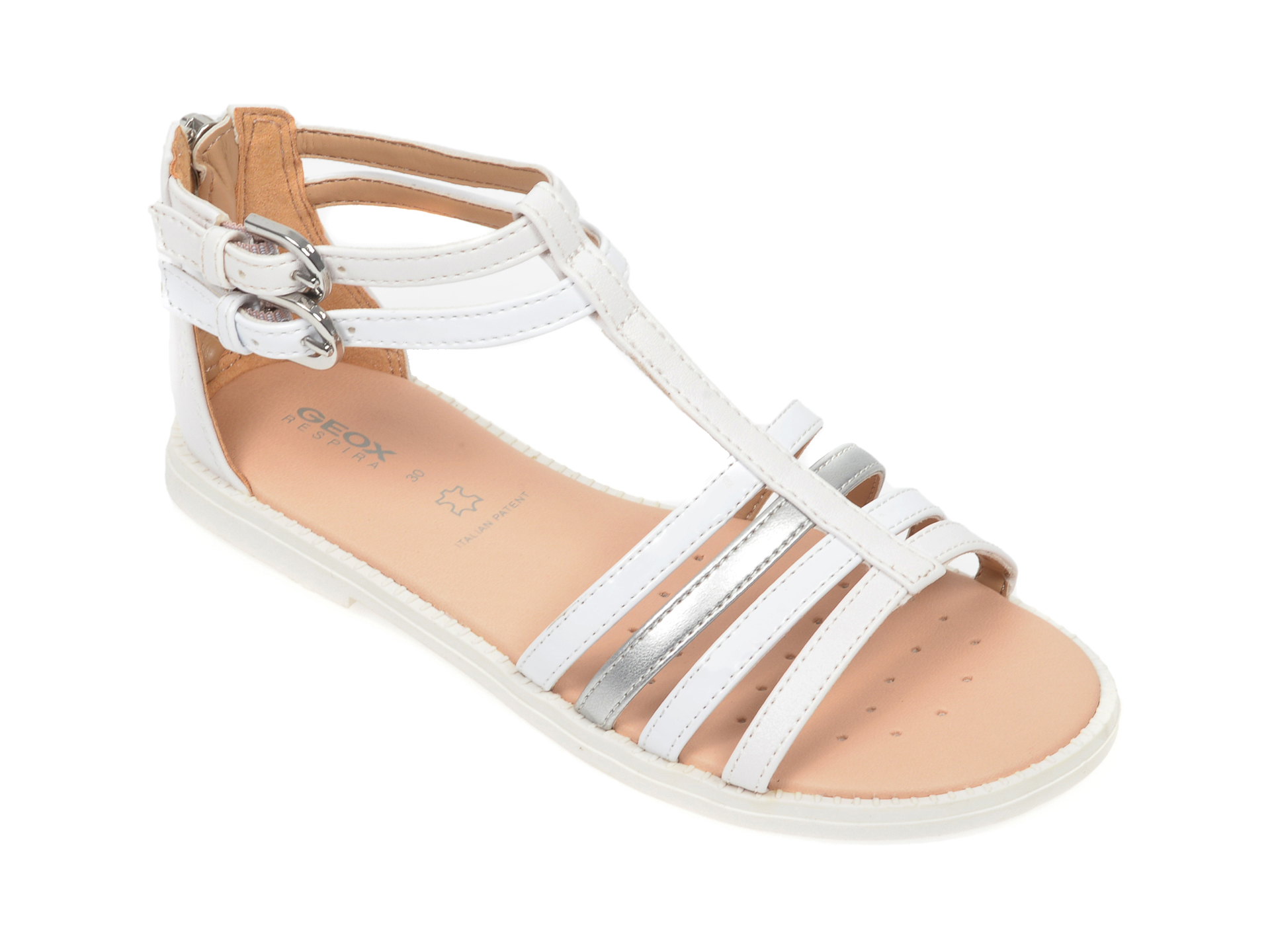Sandale GEOX albe, J7235D, din piele ecologica