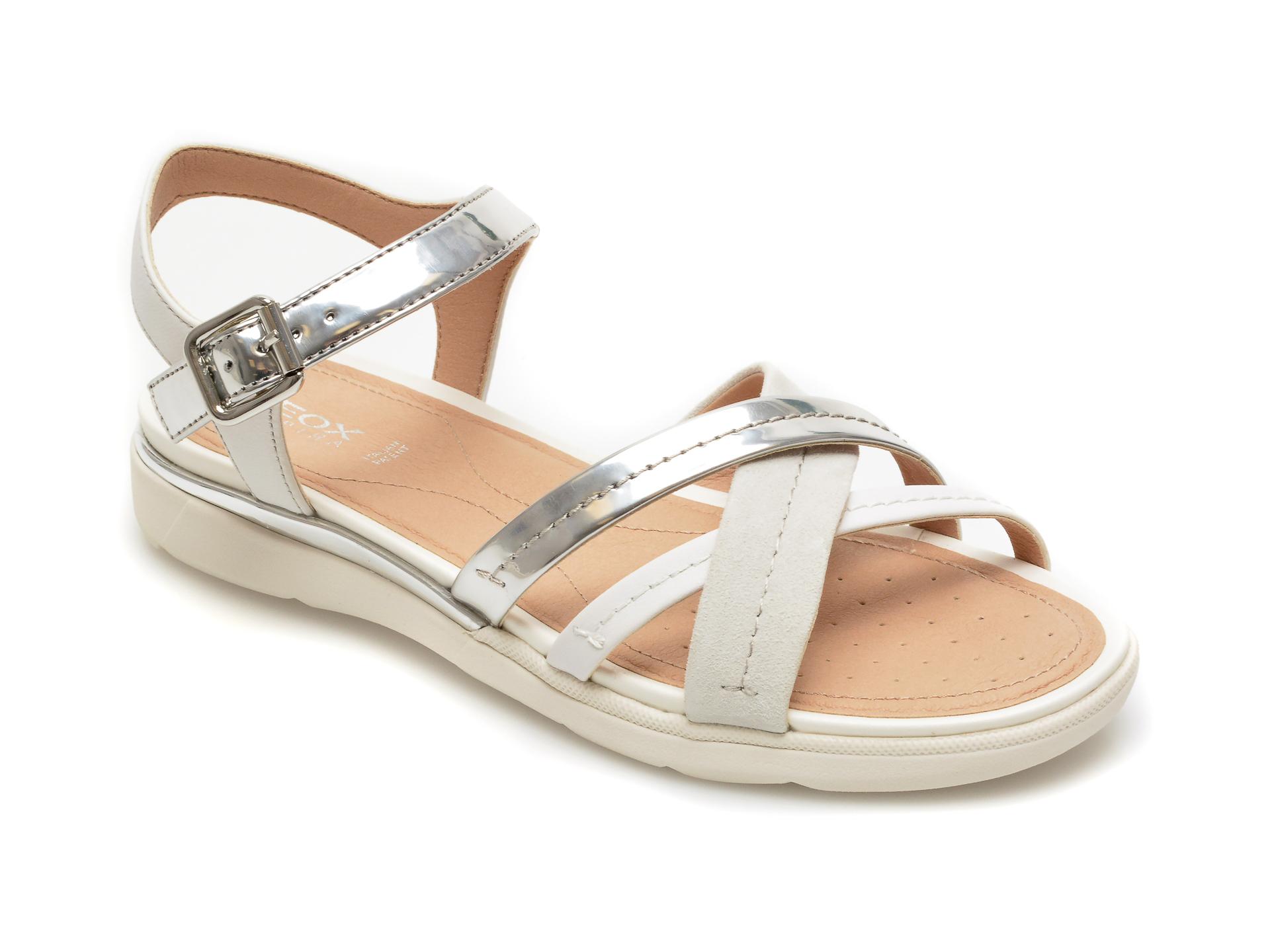 Sandale GEOX argintii, D02GZB, din piele naturala