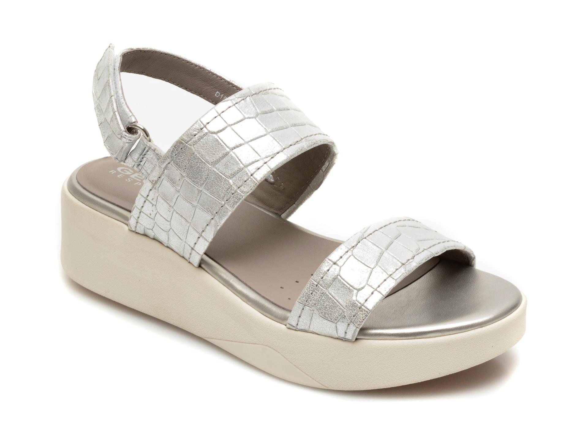 Sandale GEOX argintii, D15MPC, din piele naturala