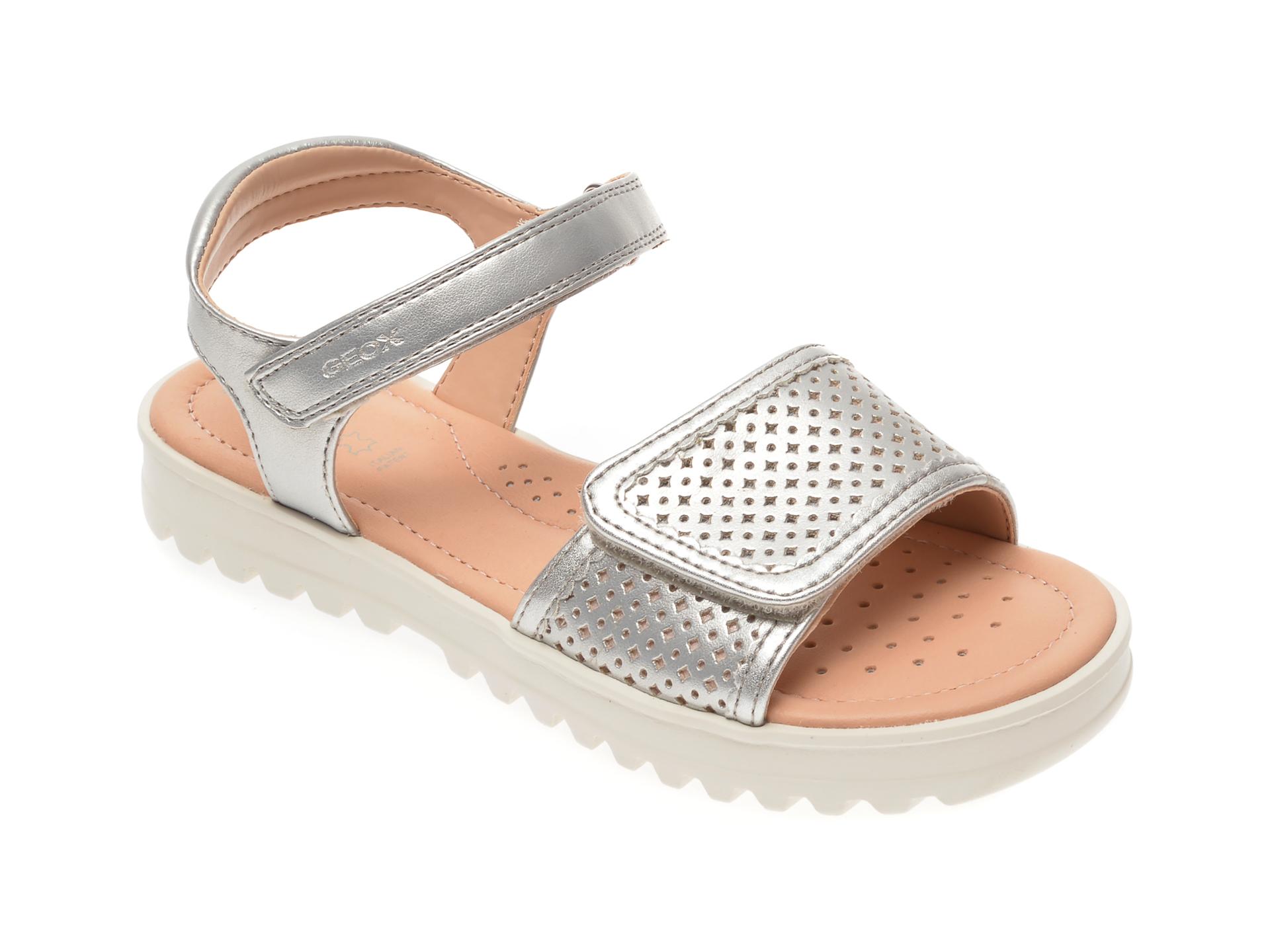 Sandale GEOX argintii, J026EE, din piele ecologica