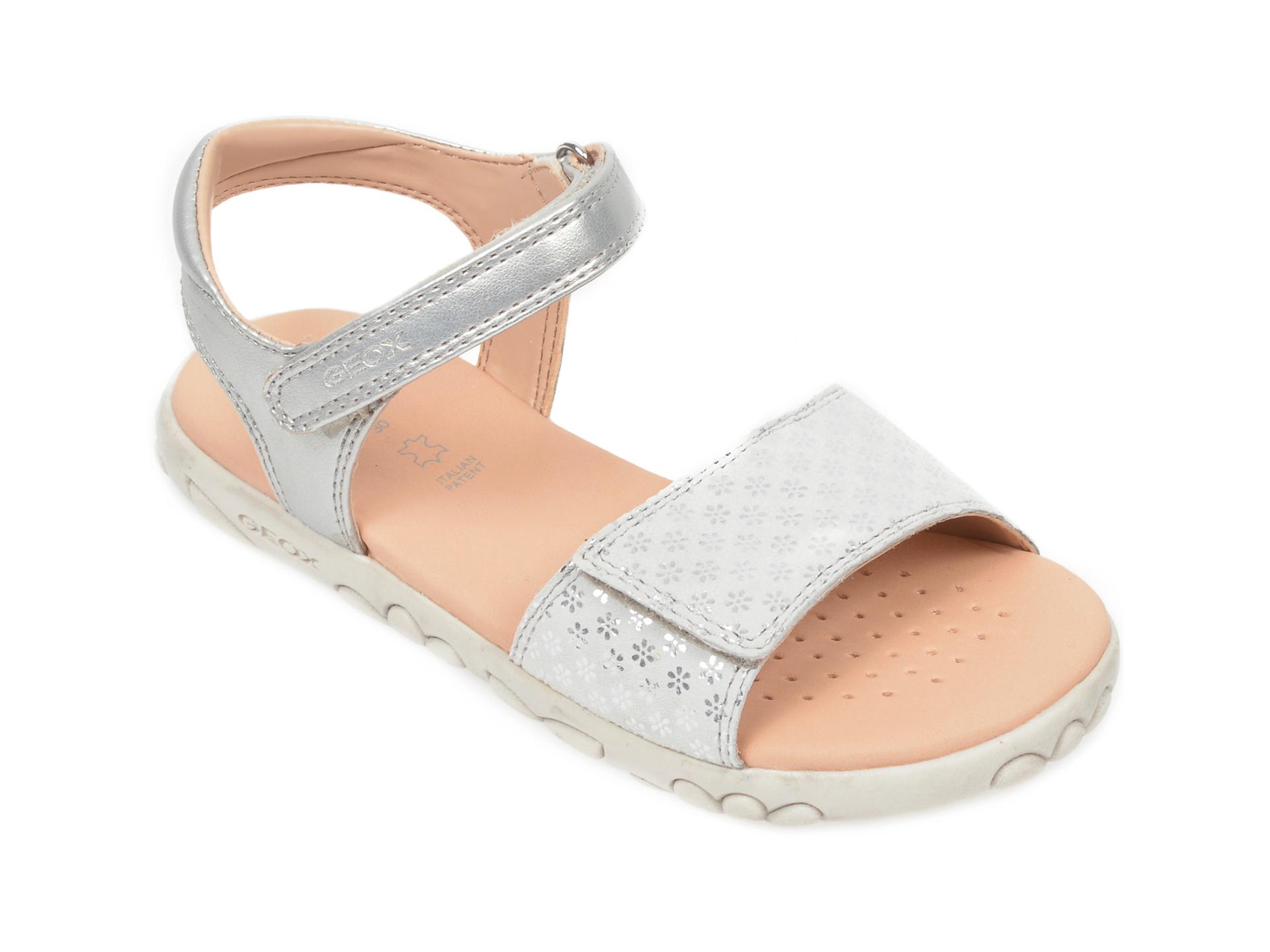 Sandale GEOX argintii, J028ZA, din piele naturala