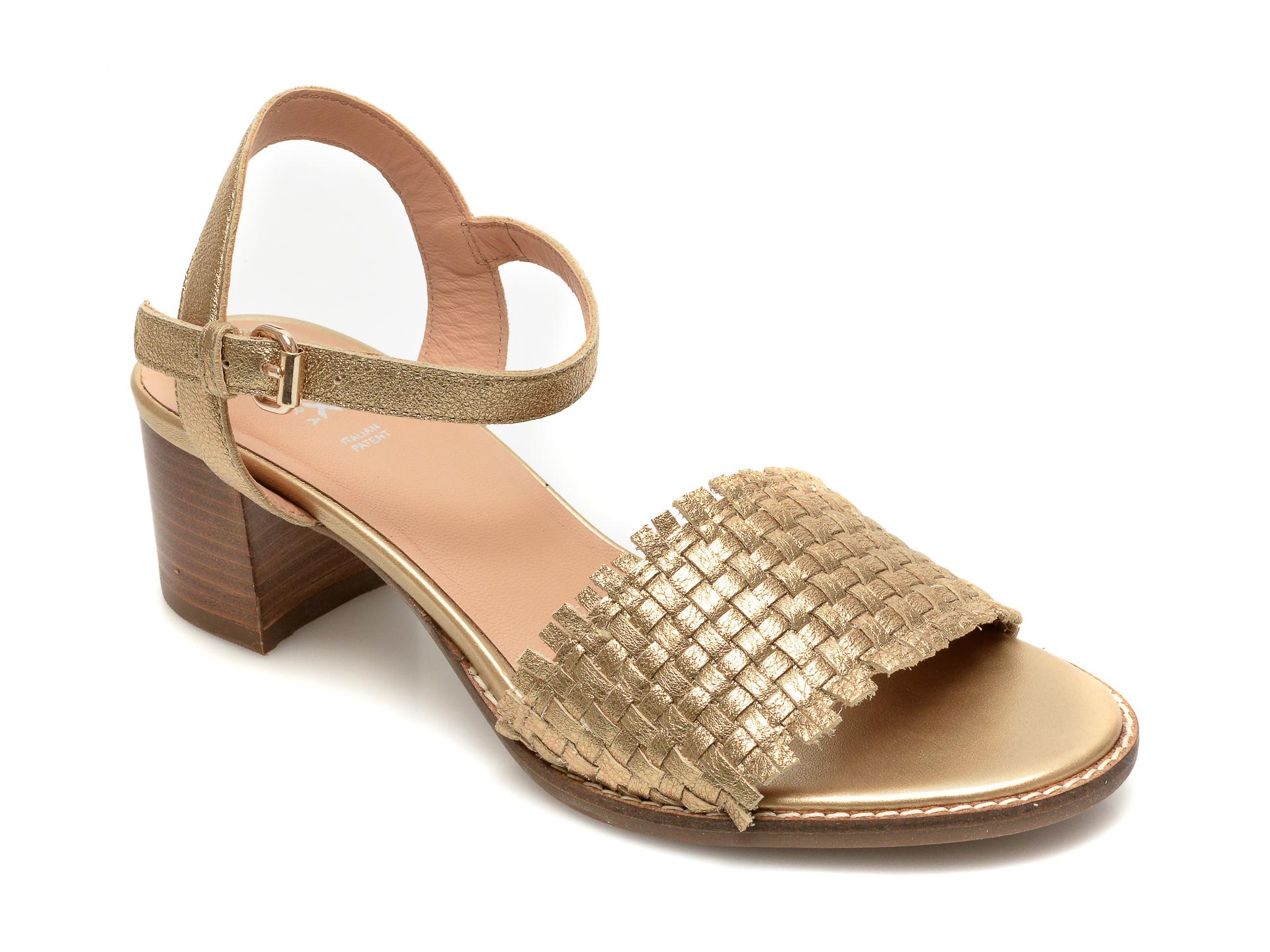 Sandale GEOX aurii, D15MPC, din piele naturala