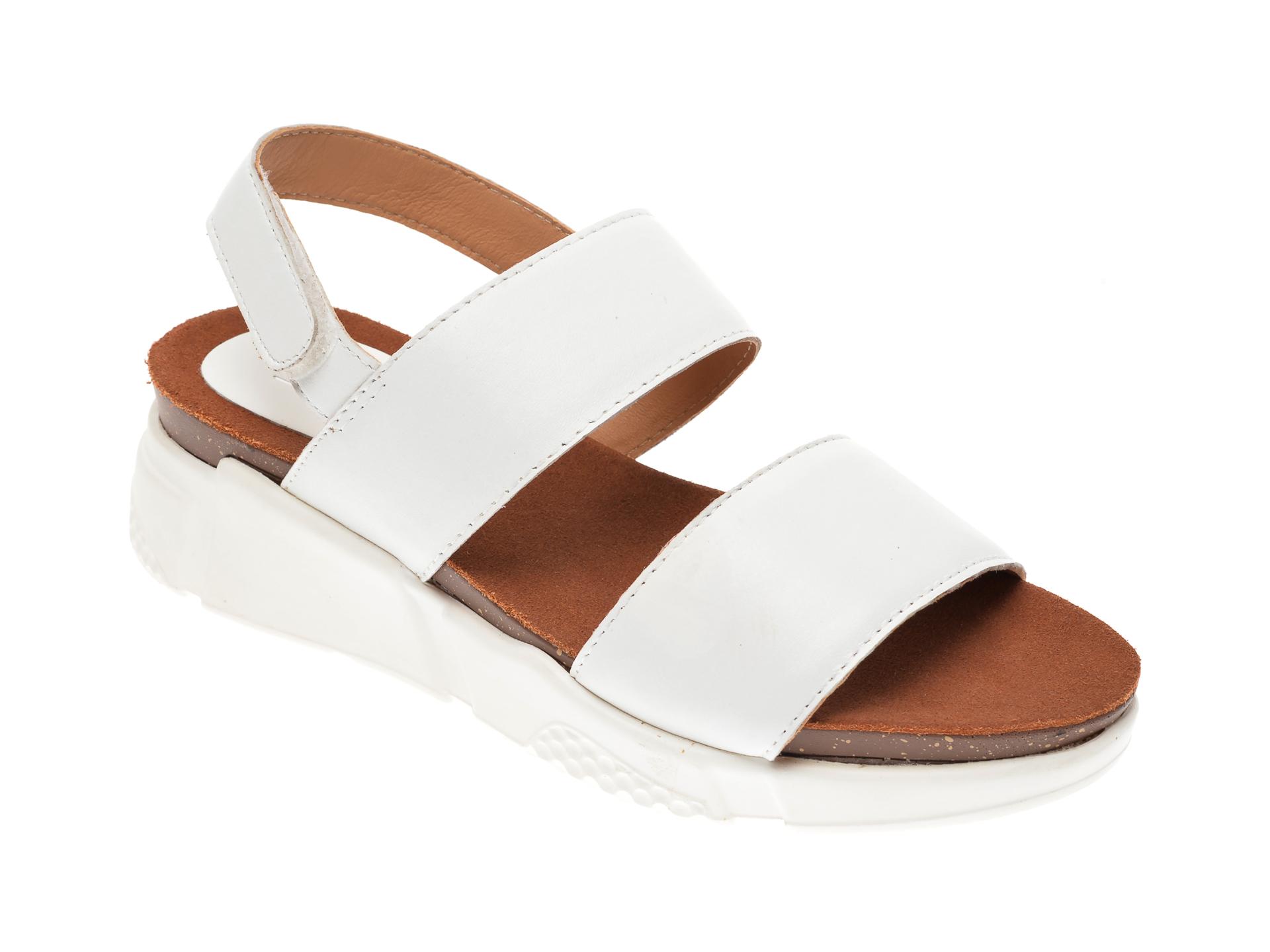 Sandale IMAGE albe, SH57, din piele naturala