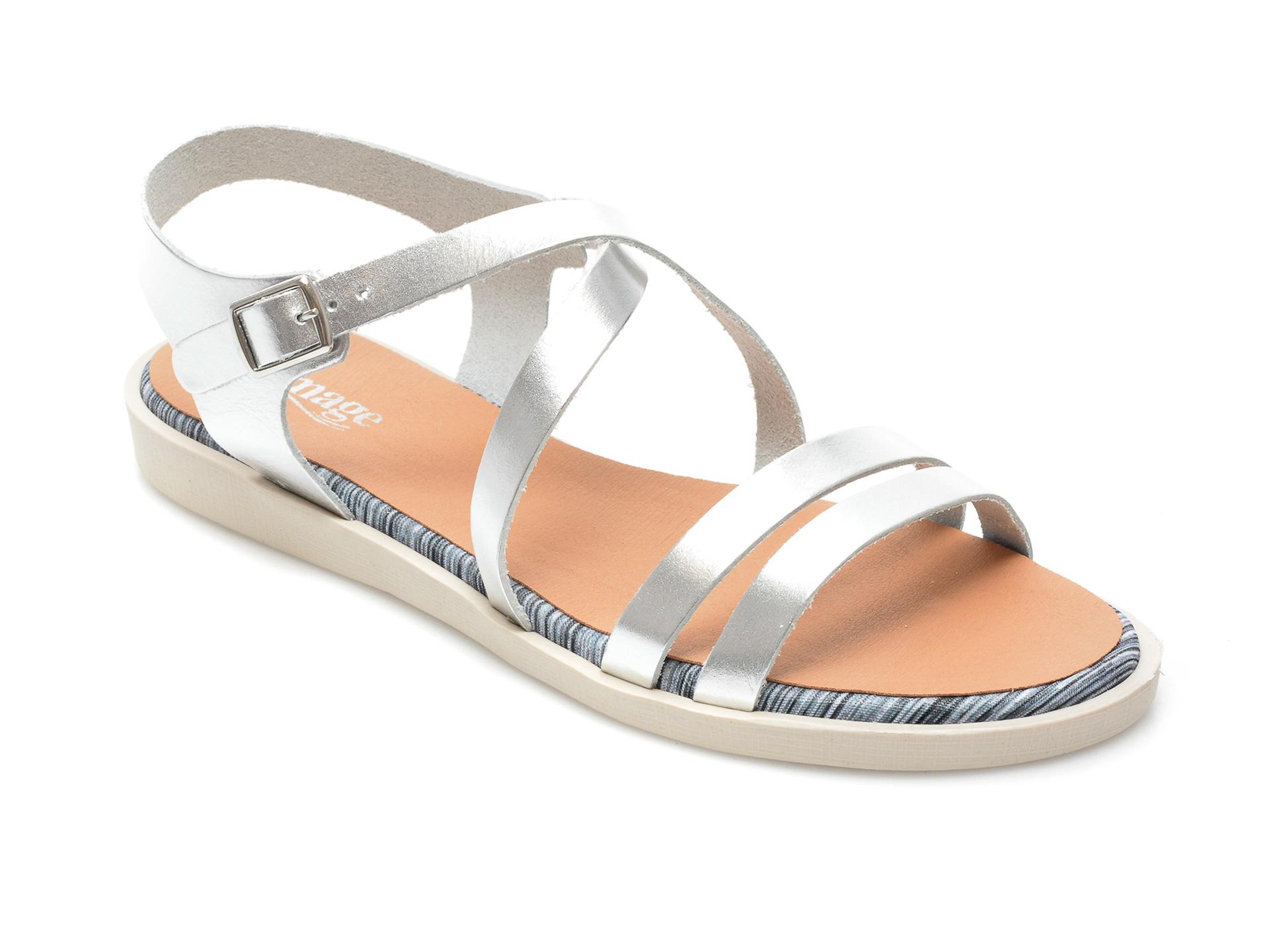 Sandale IMAGE argintii, TABARCA, din piele naturala