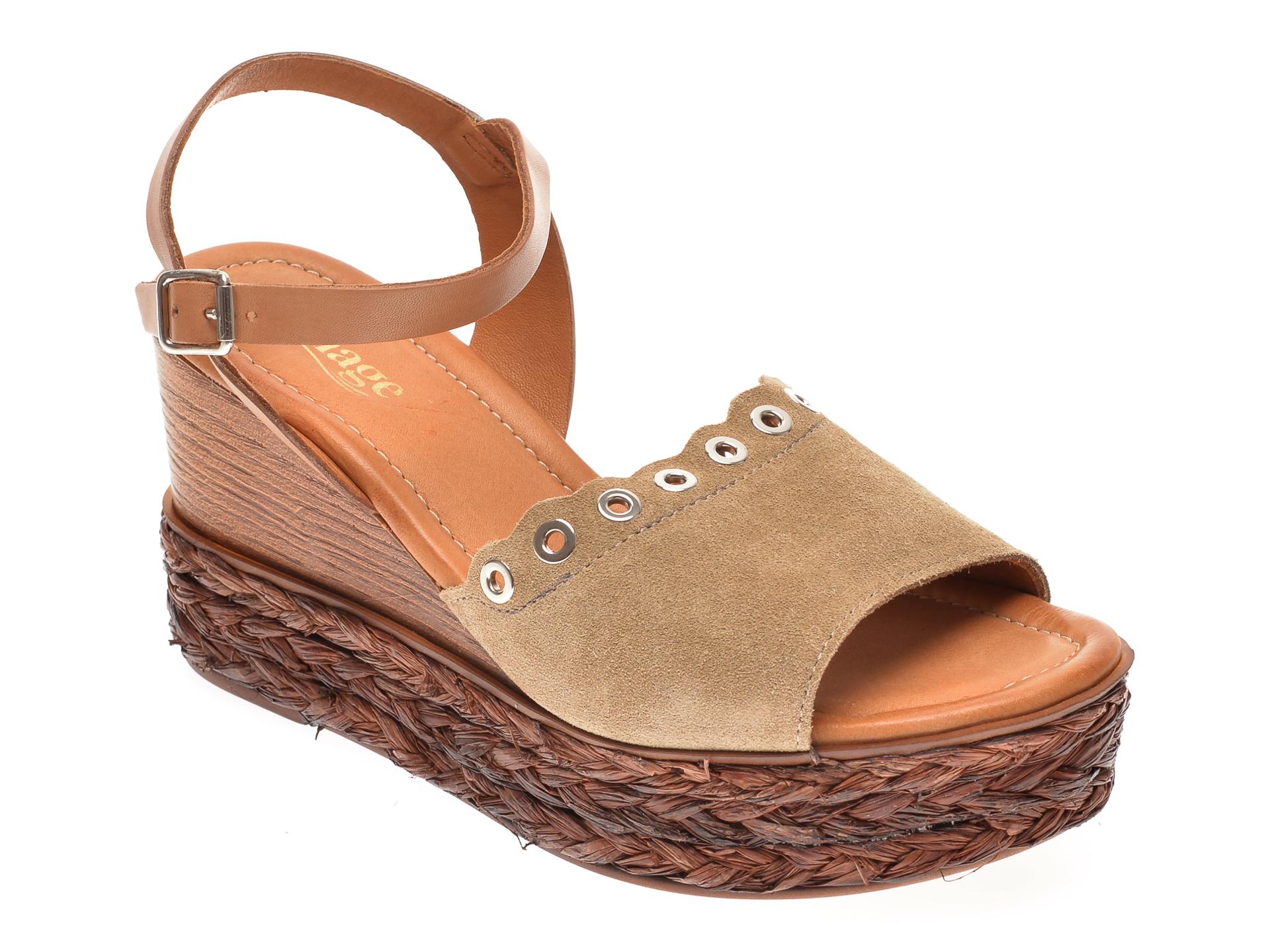 Sandale Image Bej, 4151, Din Piele Intoarsa