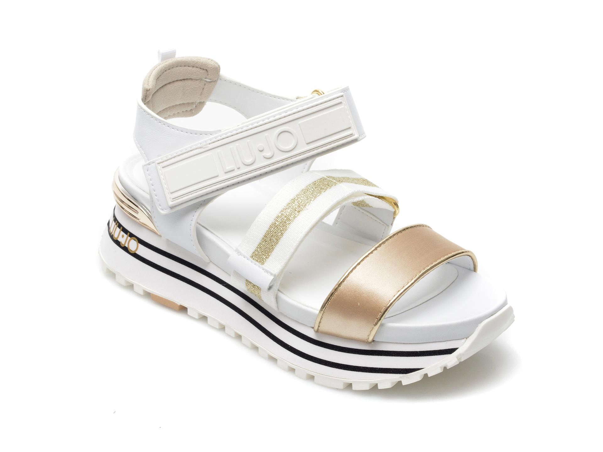 Sandale LIU JO albe, Maxi Wonder Sandal 7, din material textil si piele ecologica