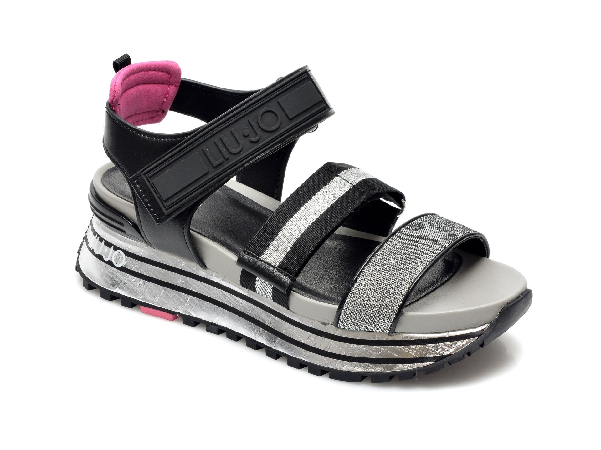 Sandale LIU JO argintii, Maxi Wonder Sandal , din material textil si piele ecologica