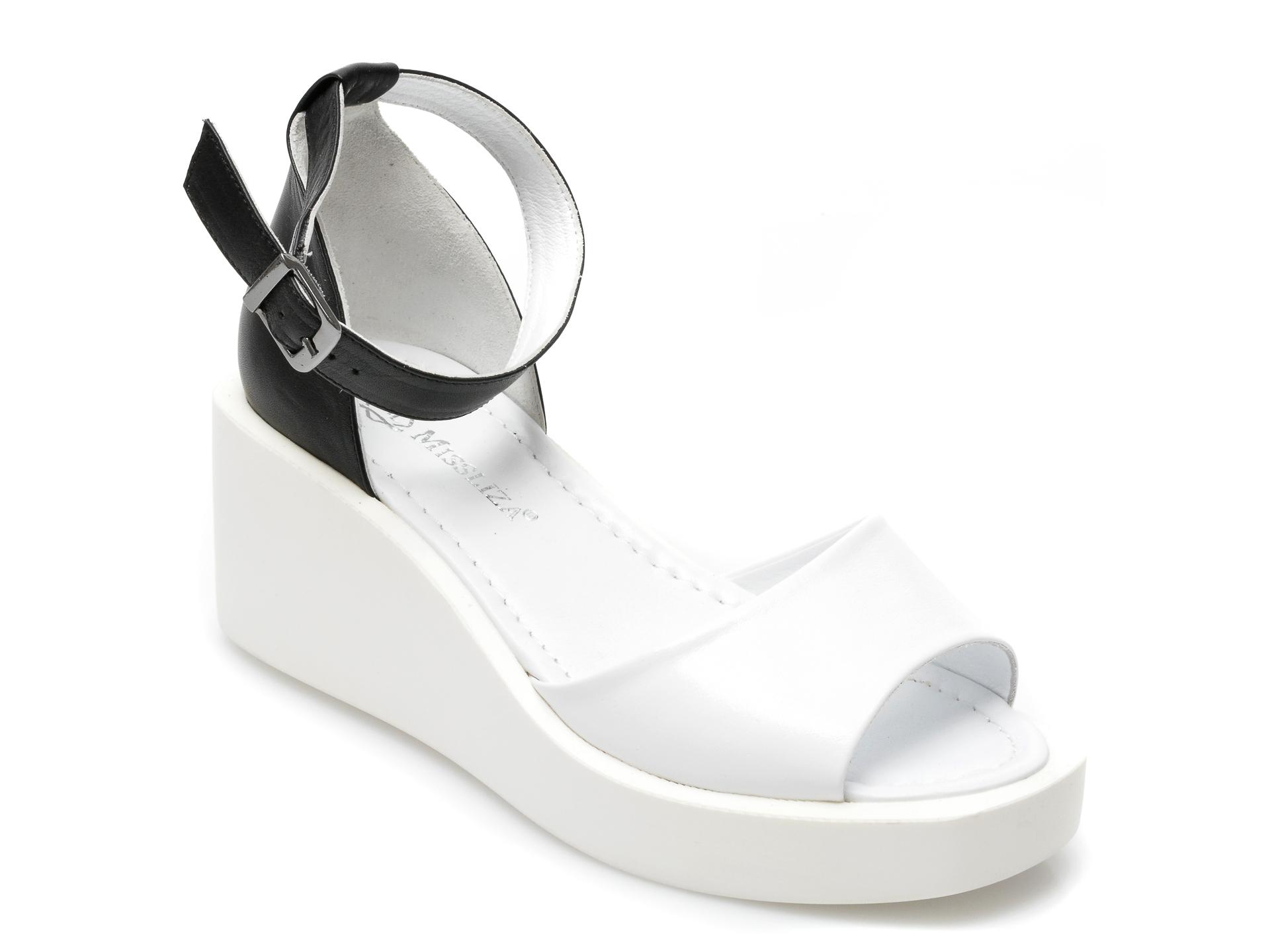 Sandale MISS LIZA albe, 2659AAA, din piele naturala