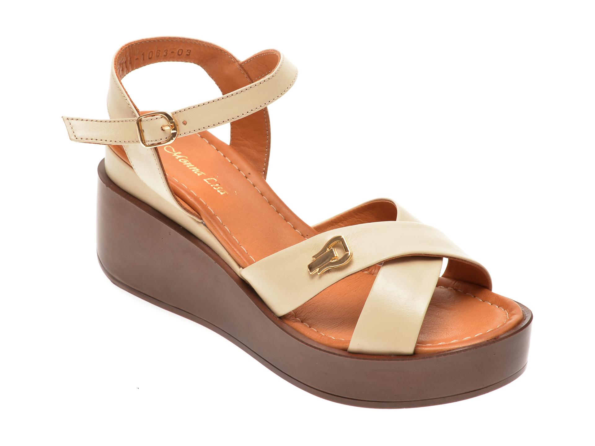 Sandale MISS LIZA bej, 1181063, din piele naturala imagine