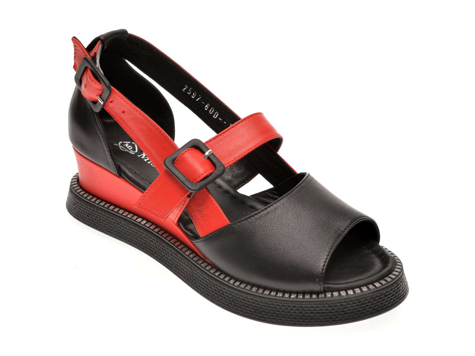 Sandale MISS LIZA negre, 1182597, din piele naturala imagine