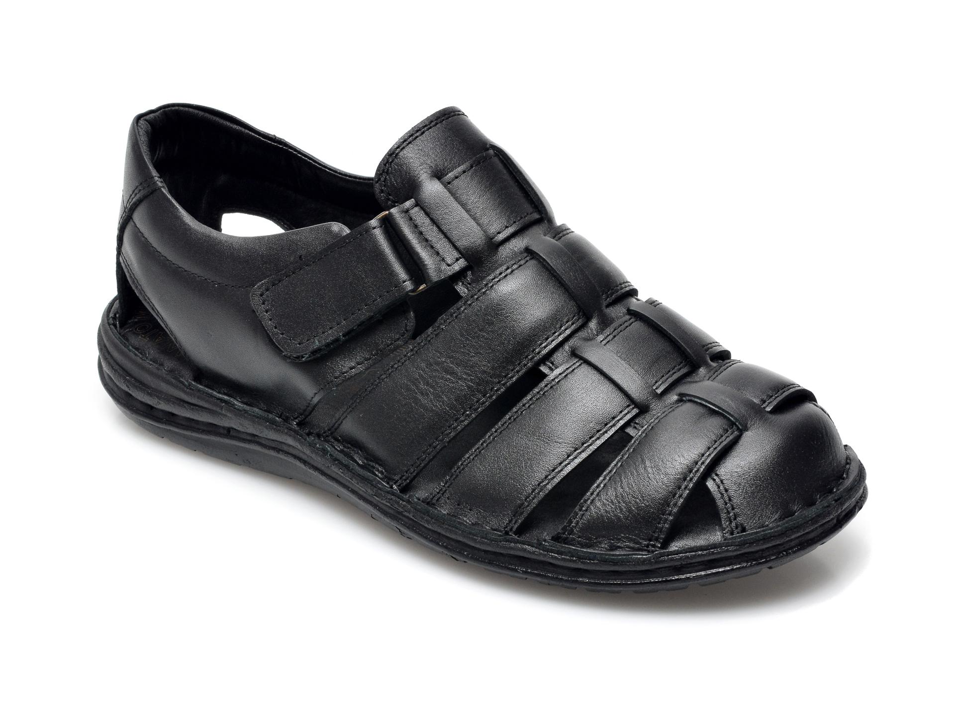 Sandale OTTER negre, 180S, din piele naturala