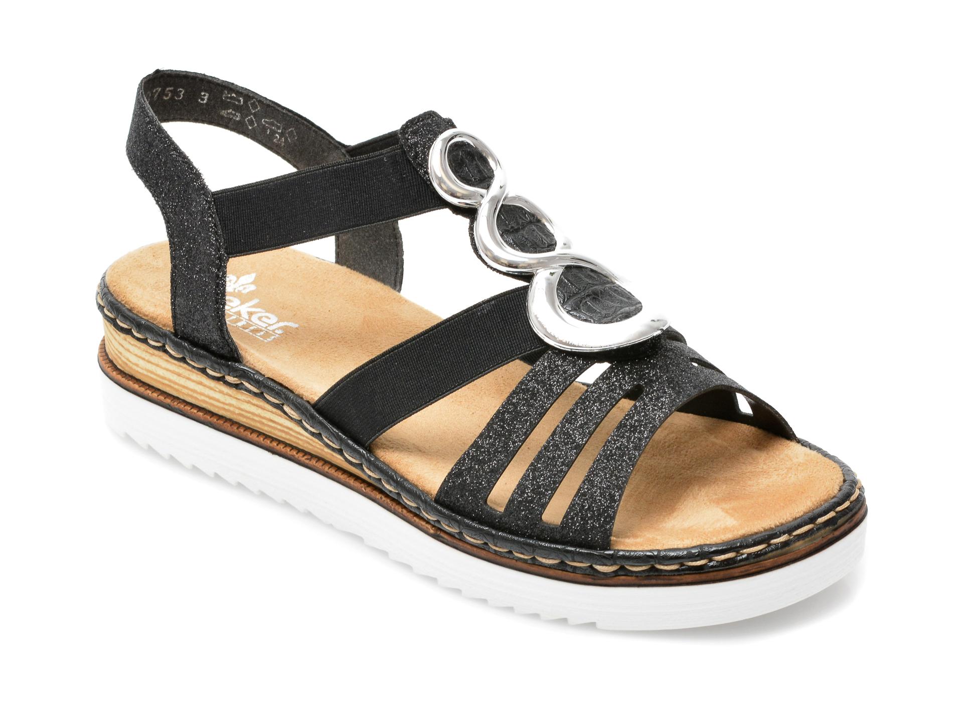 Sandale RIEKER negre, 679L4, din material textil si piele ecologica