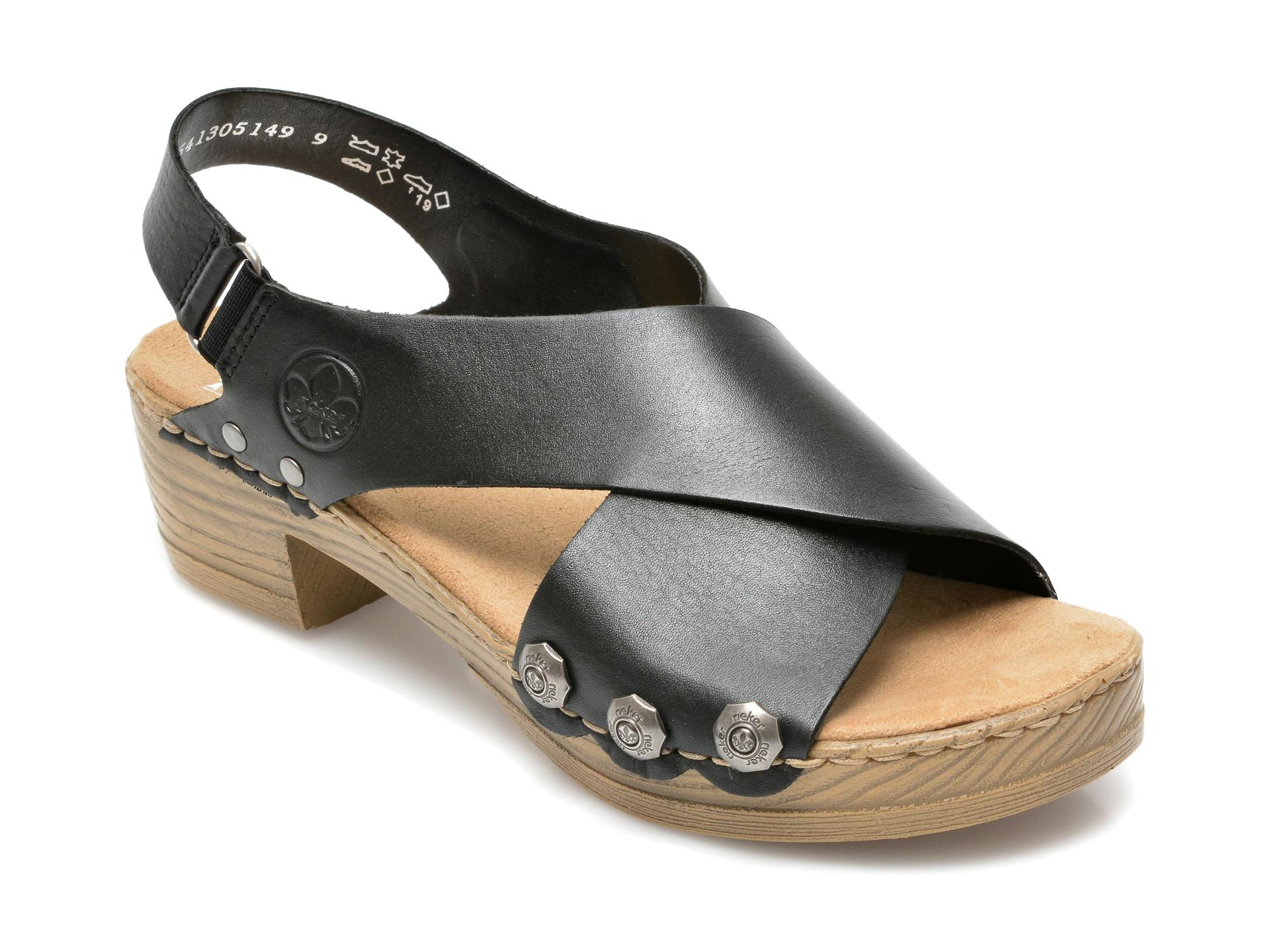 Sandale RIEKER negre, V6888, din piele ecologica