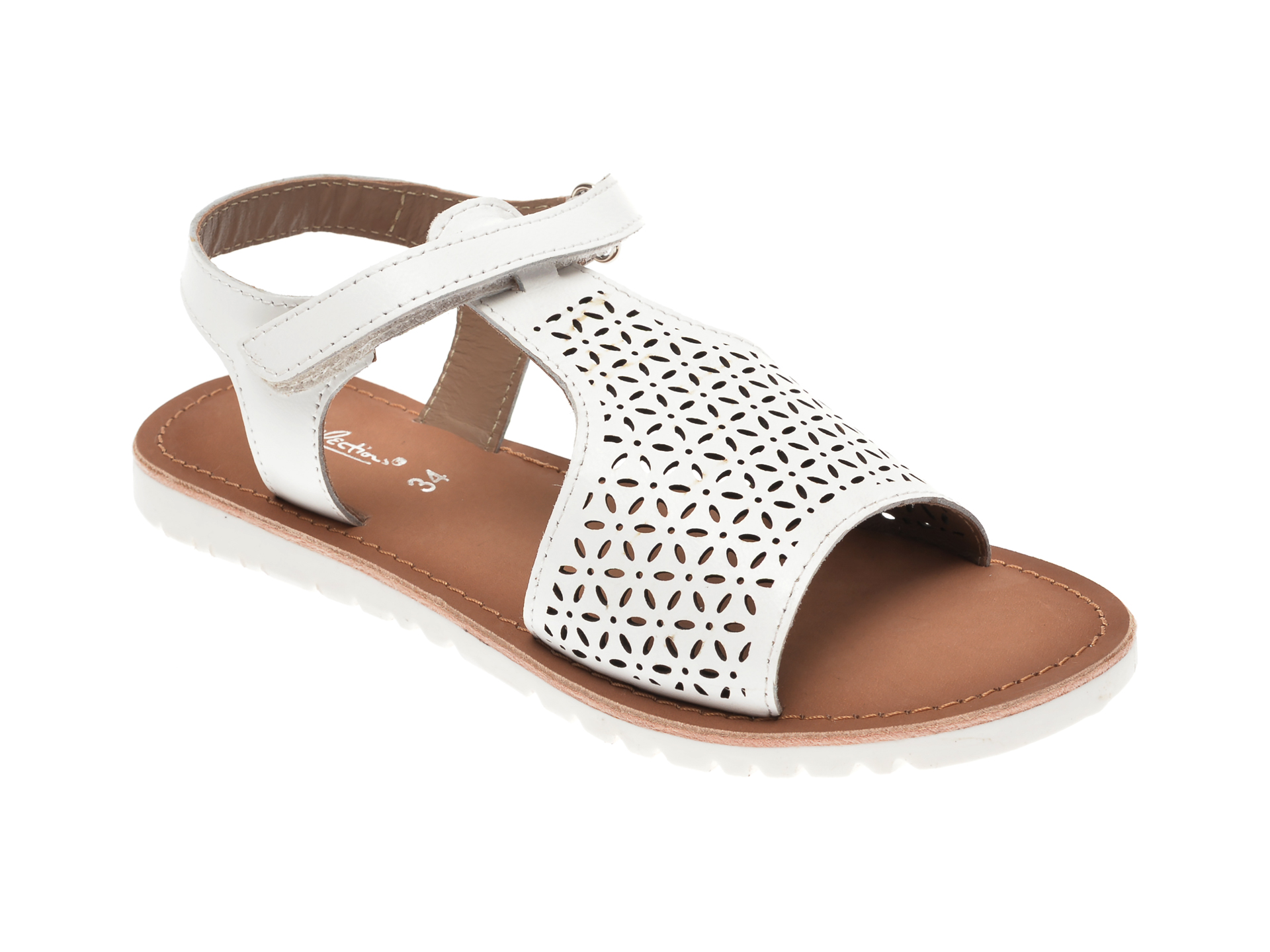 Sandale SELECTION KIDS albe, SH22, din piele naturala