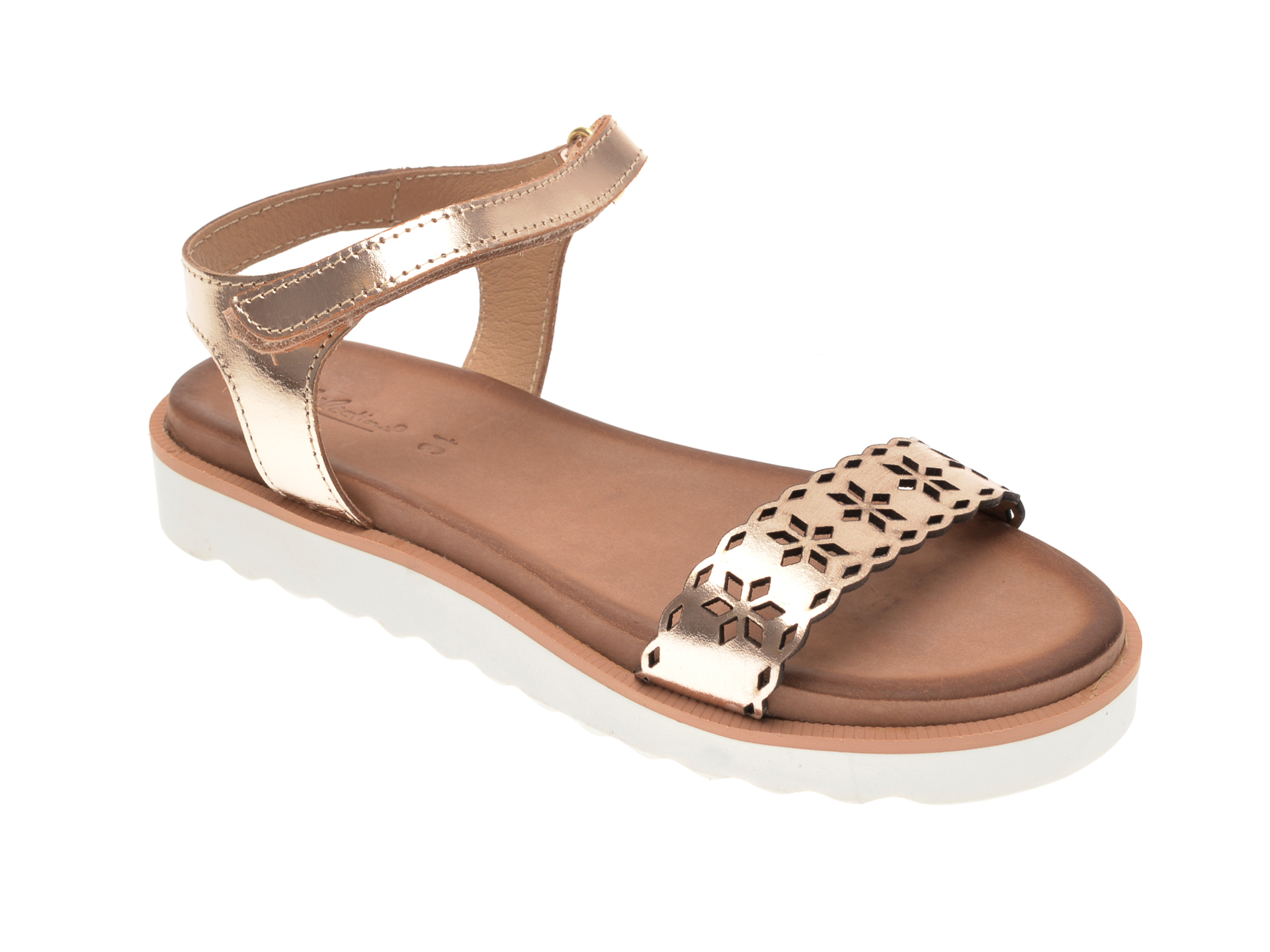 Sandale SELECTION KIDS aurii, SH17, din piele naturala