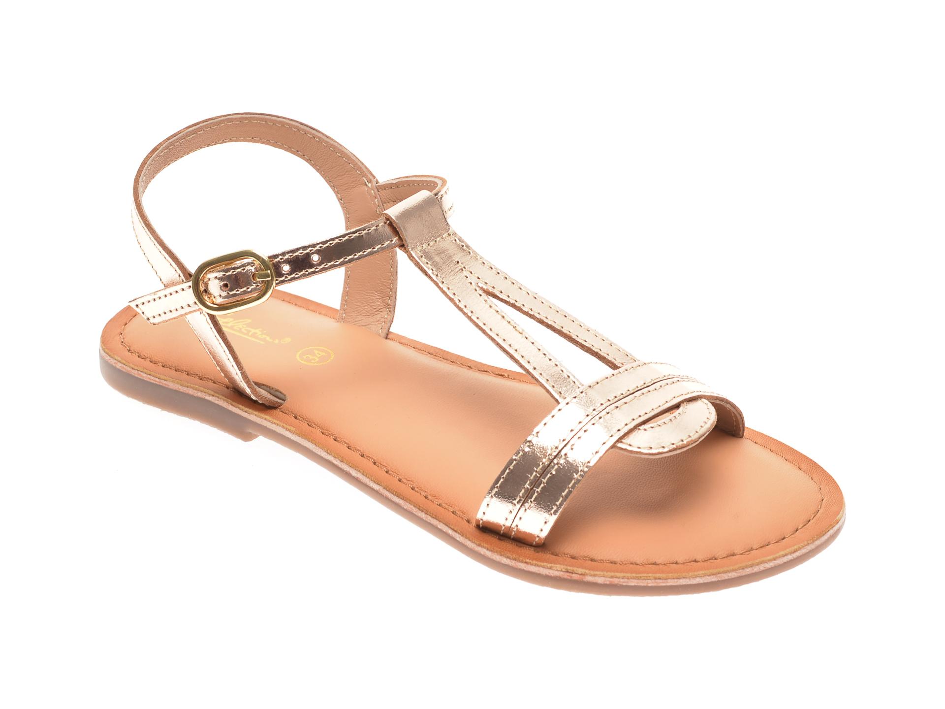 Sandale SELECTION KIDS aurii, SH26, din piele naturala