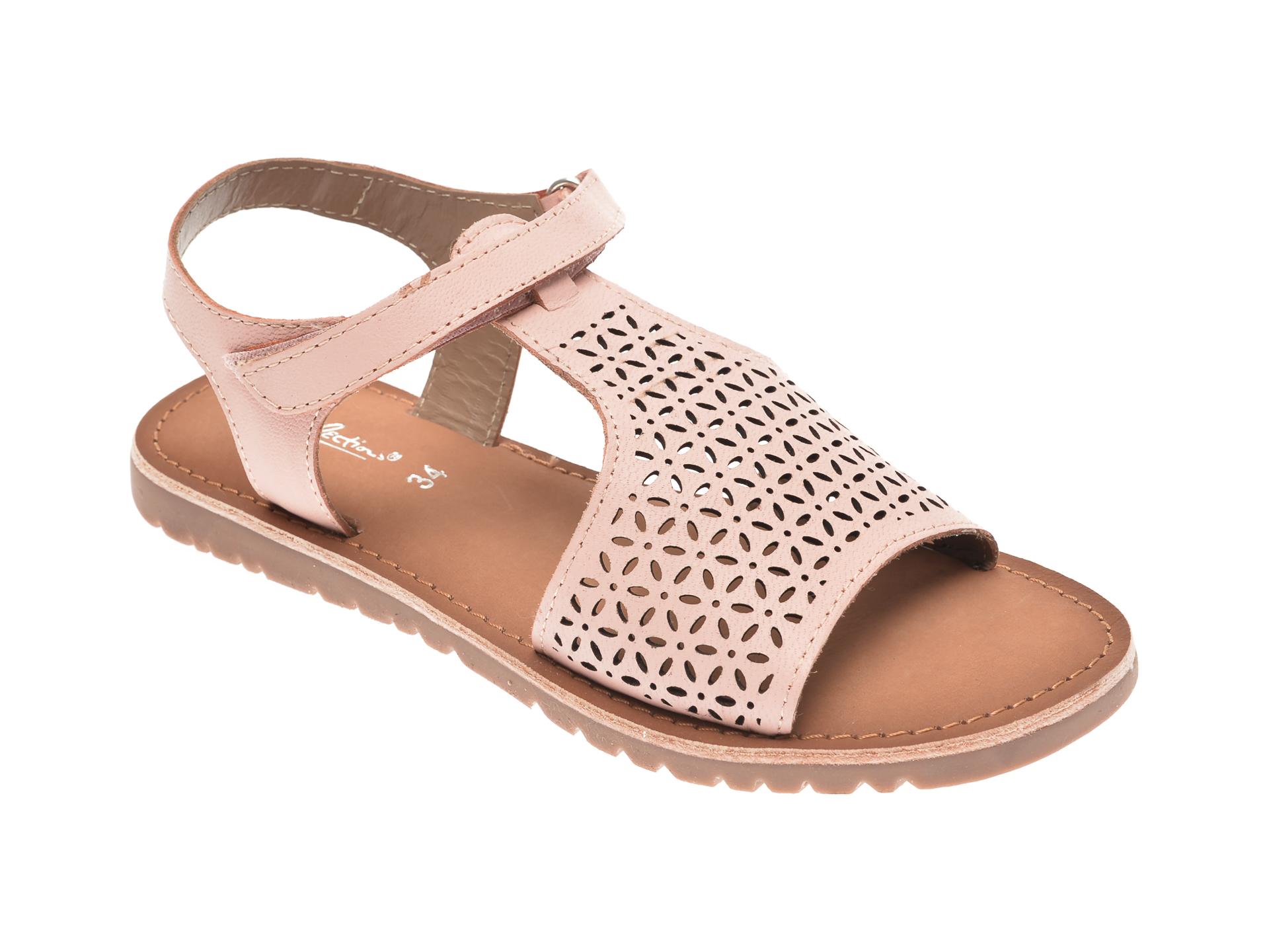 Sandale SELECTION KIDS roz, SH22, din piele naturala