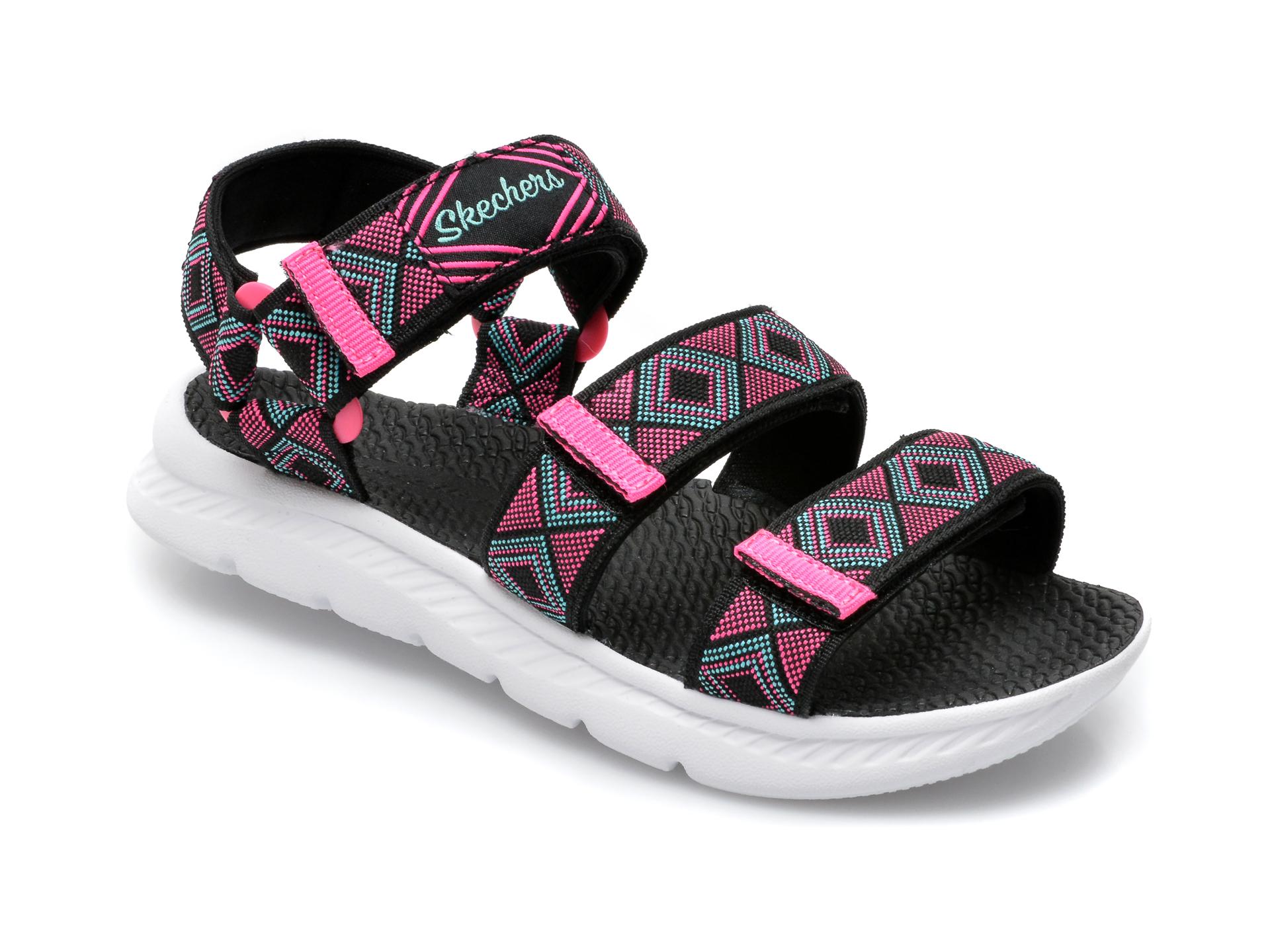 Sandale SKECHERS negre, C-Flex Sandal 2.0 Bohemian Beauty, din material textil