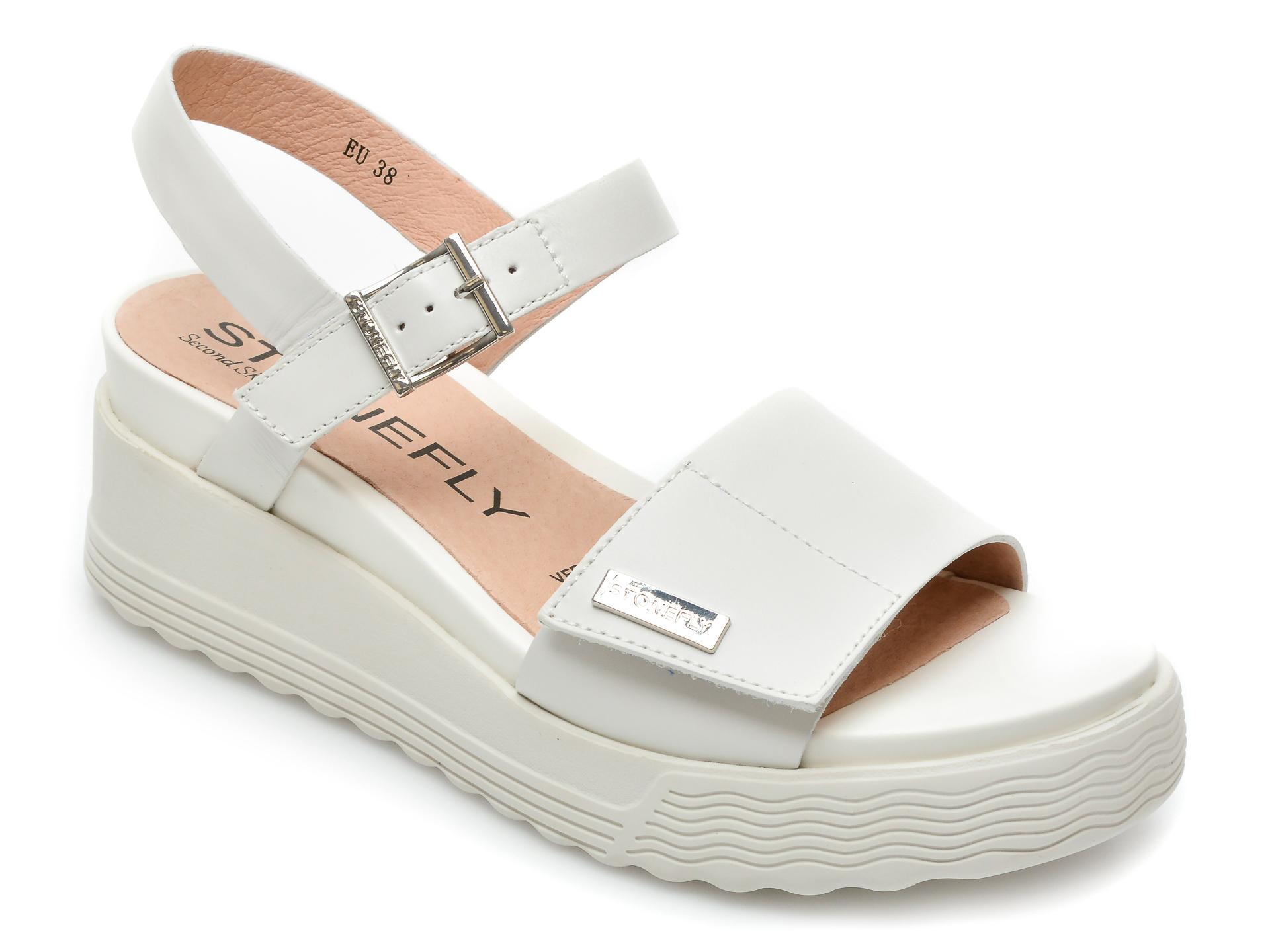 Sandale STONEFLY albe, Parky6, din piele naturala