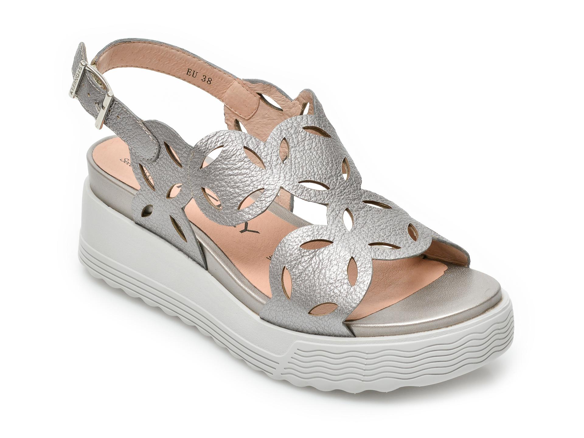 Sandale KAT MACONIE FOR EPICA argintii, ROXIE, din material textil si piele intoarsa