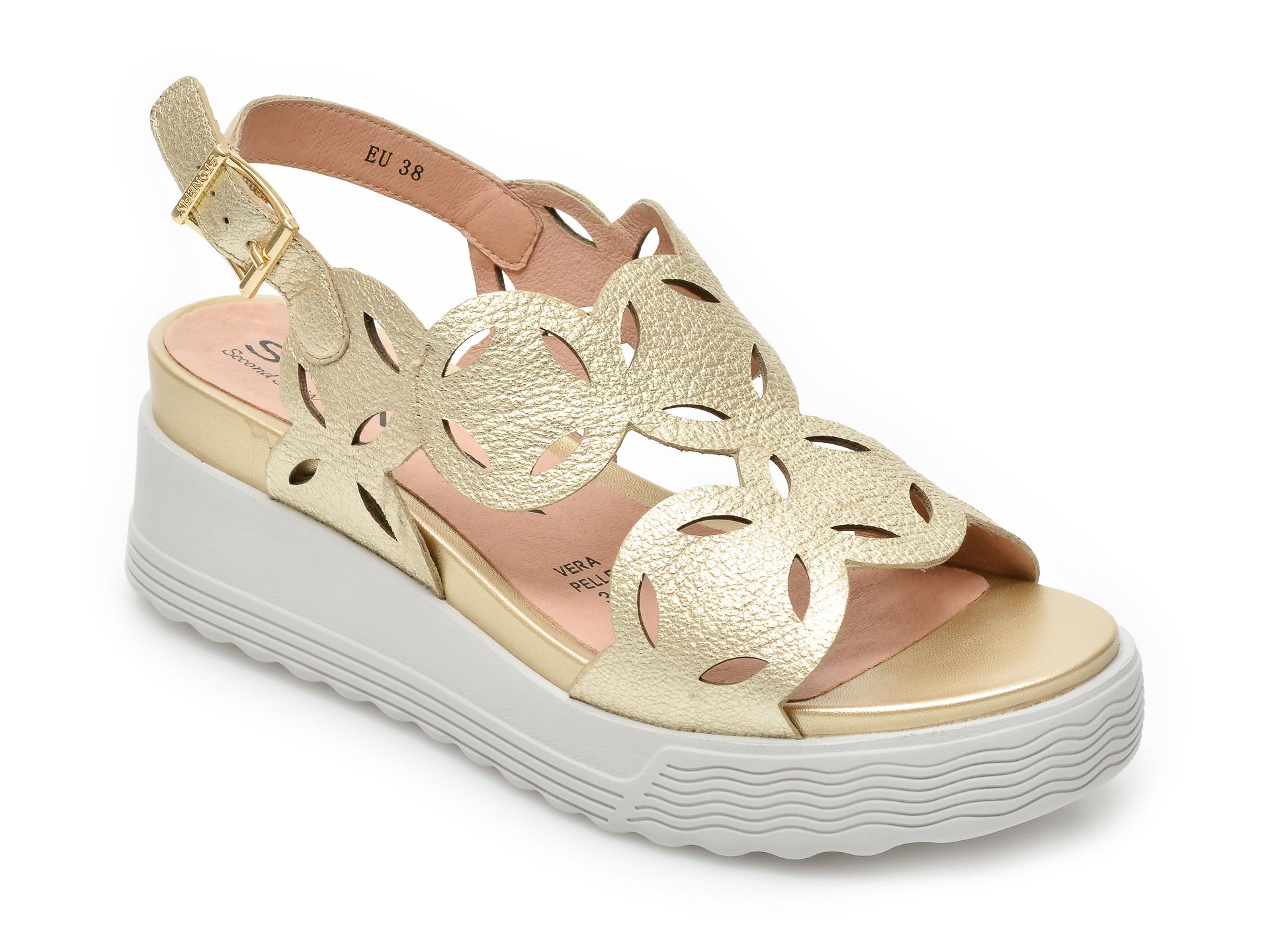 Sandale STONEFLY aurii, Parky9, din piele naturala