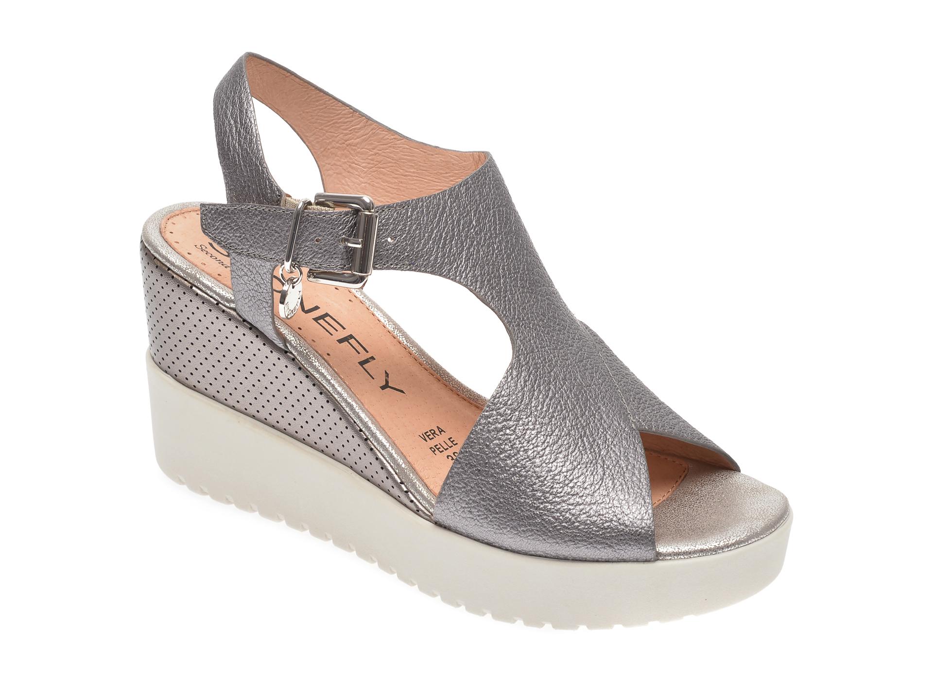 Sandale STONEFLY gri, ELY10, din piele naturala