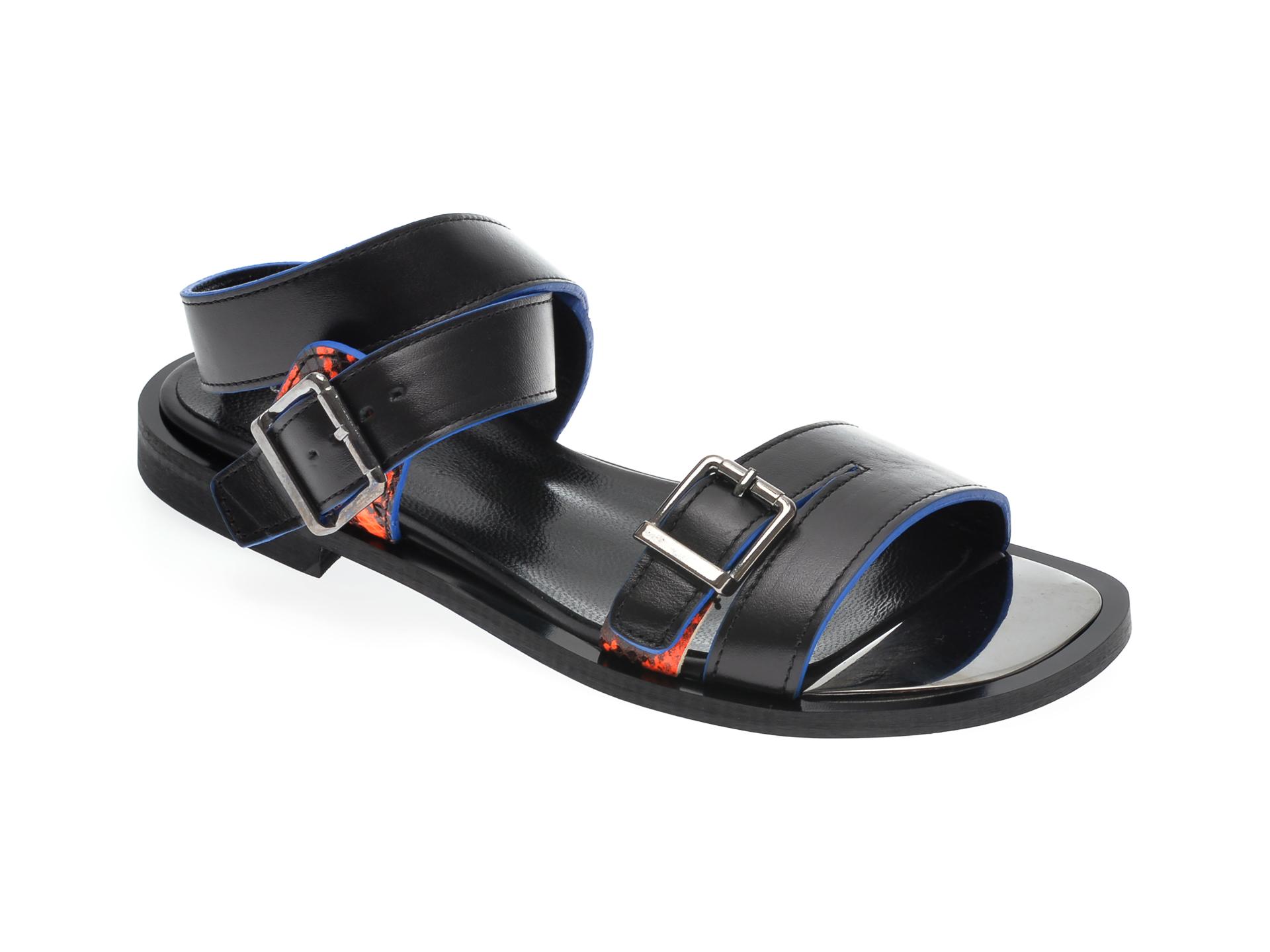 Sandale UNICA negre, A5578, din piele naturala