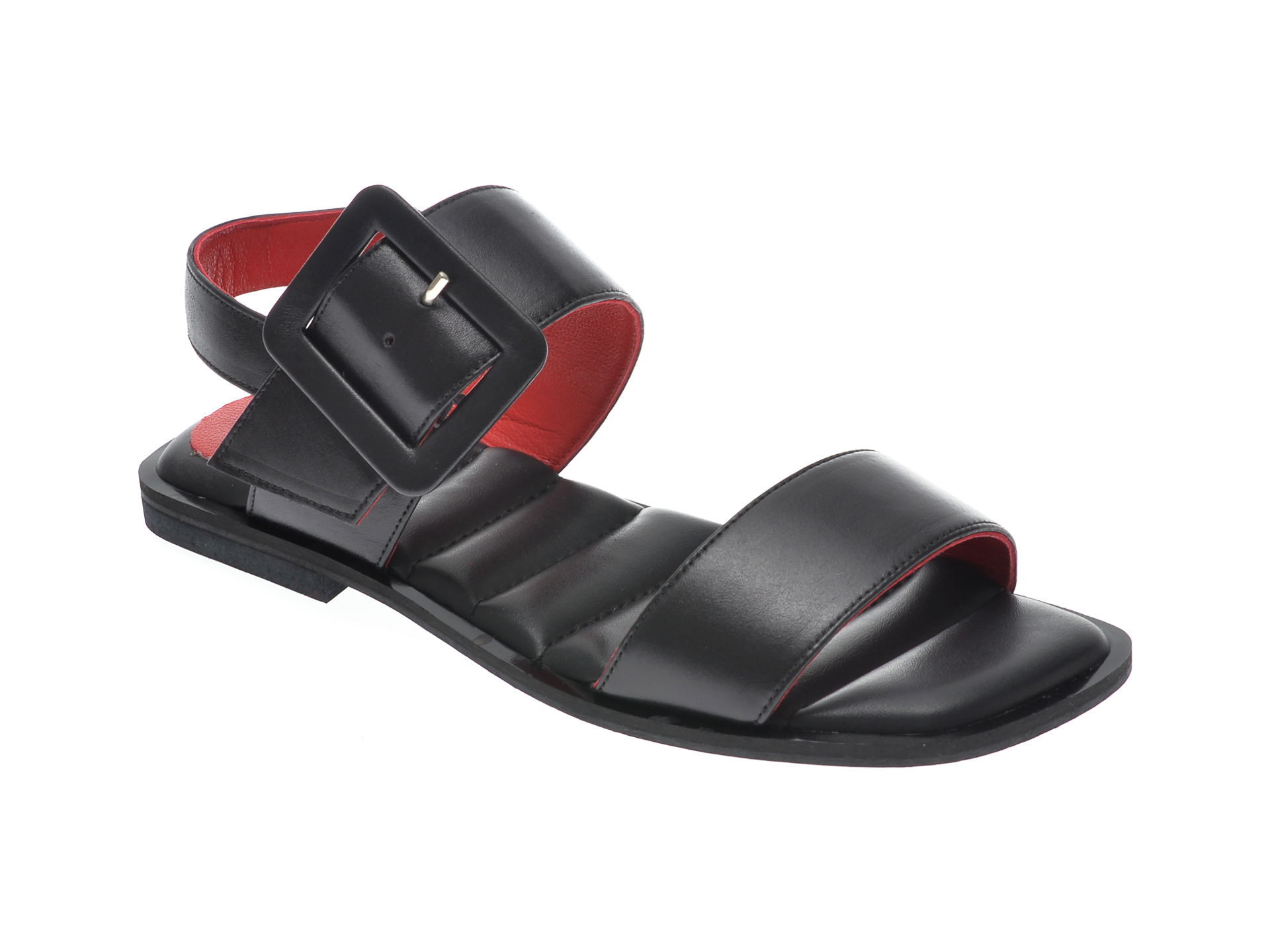 Sandale UNICA negre, A6419, din piele naturala