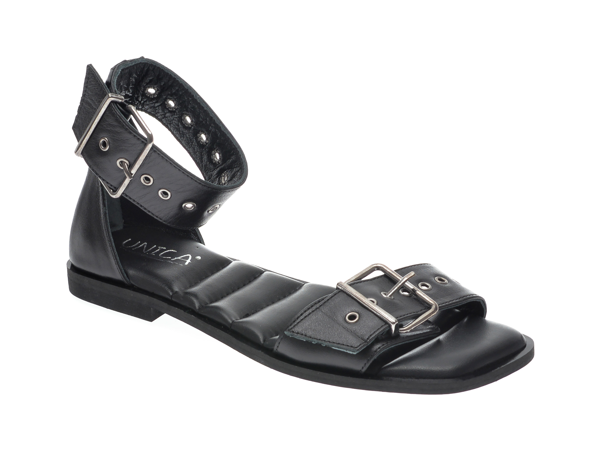 Sandale UNICA negre, A6796, din piele naturala