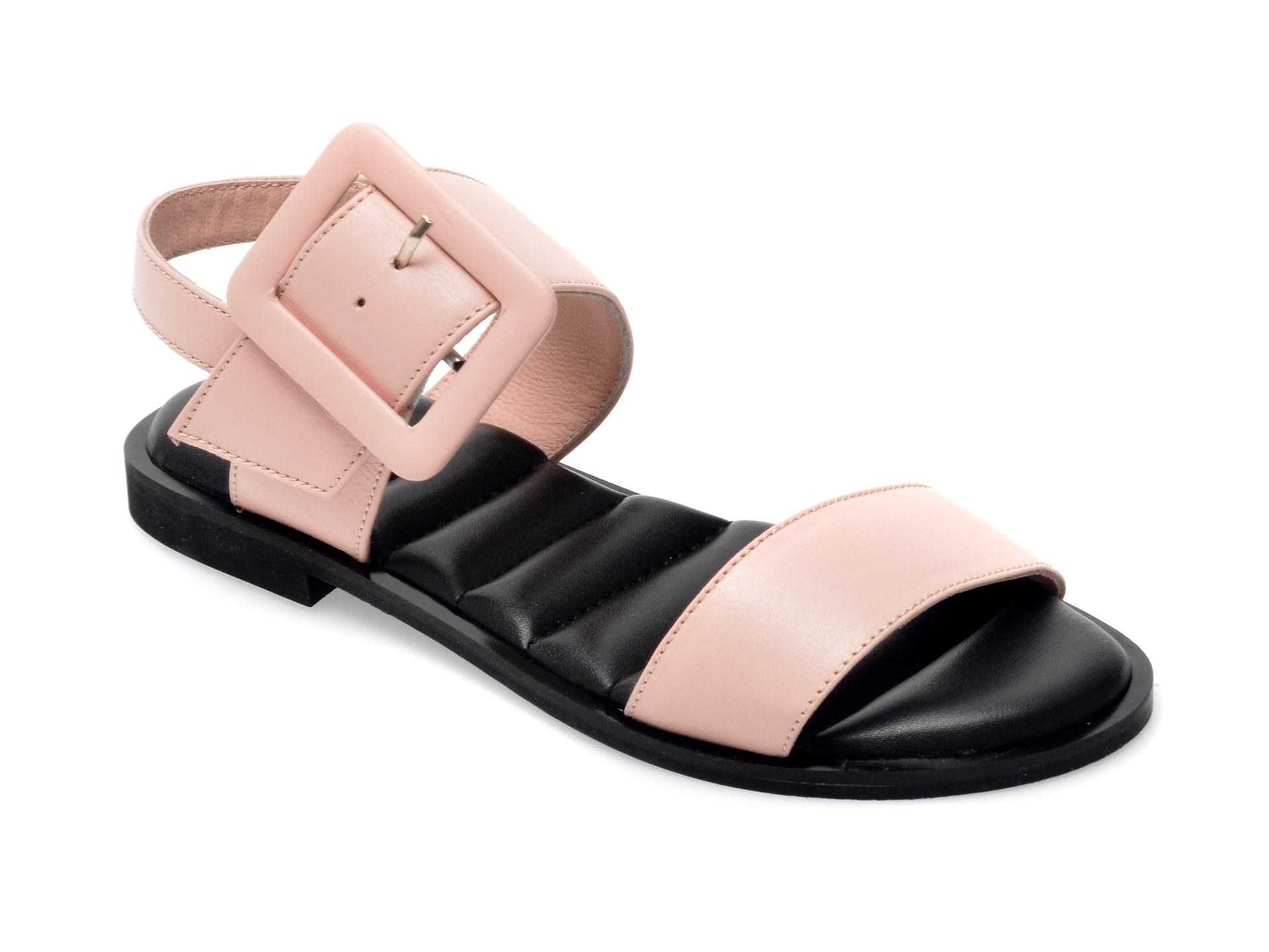 Sandale UNICA nude, A6628, din piele naturala