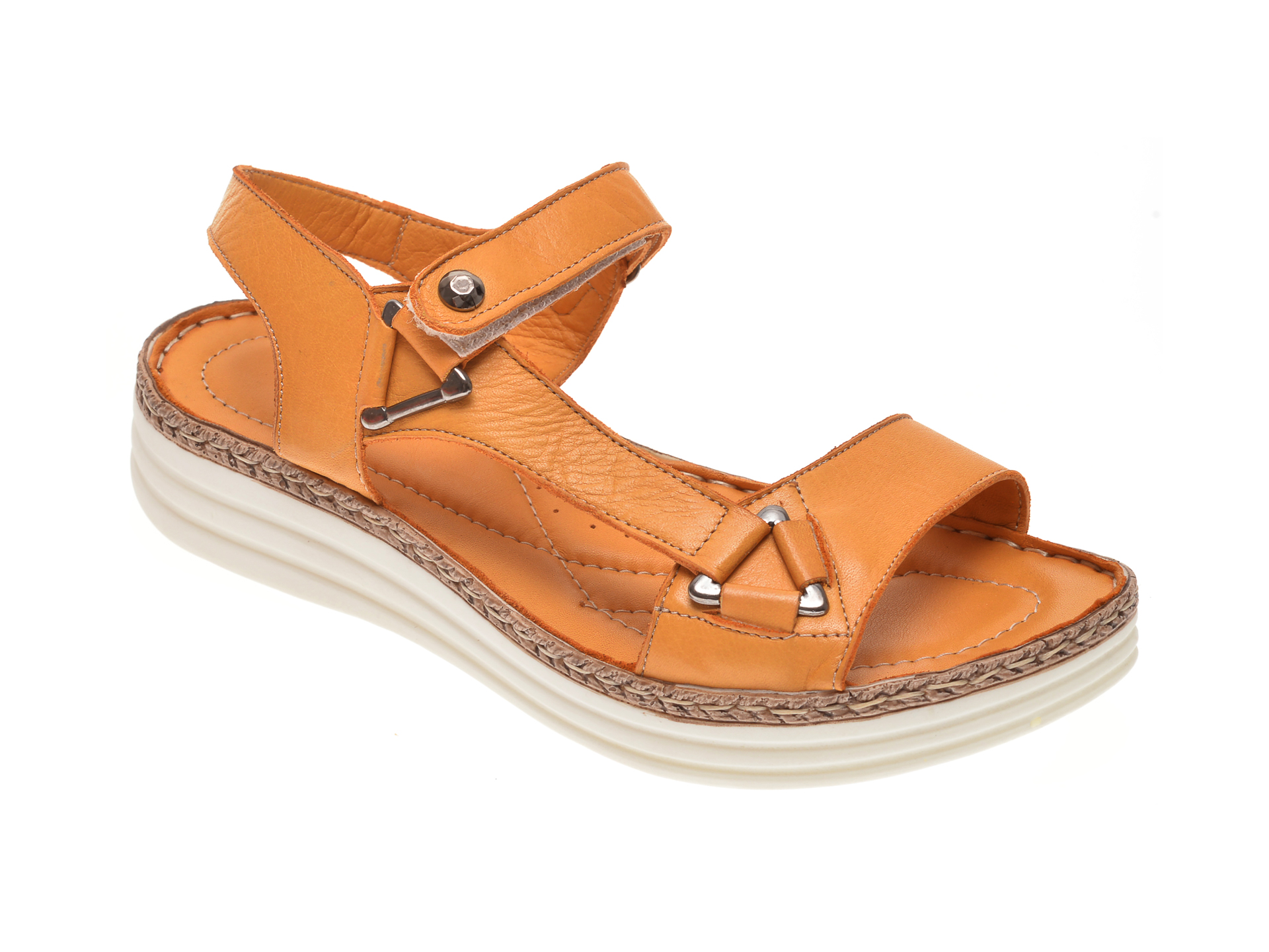 Sandale X TREND galbene, 513, din piele naturala imagine